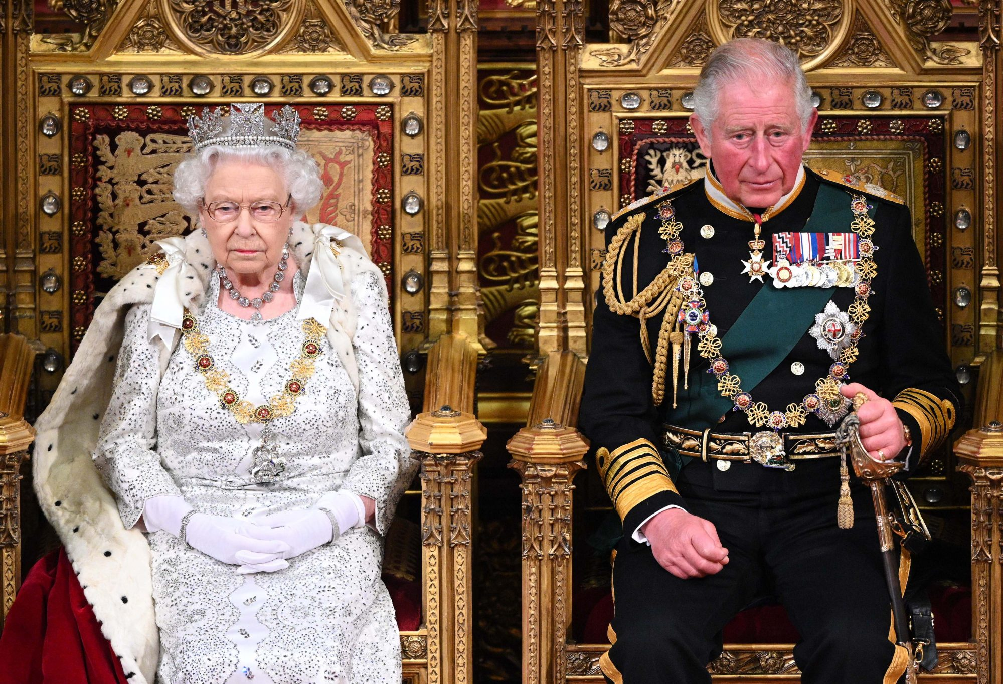 Queen Elizabeth II and Prince Charles,