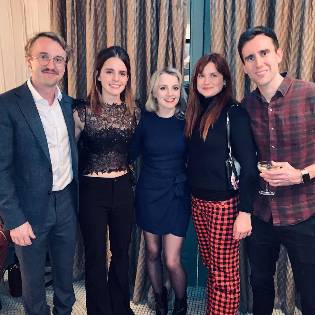 Harry Potter reunion - Tom Felton, Emma Watson, Evanna Lynch, Bonnie Wright, and Matthew Lewis