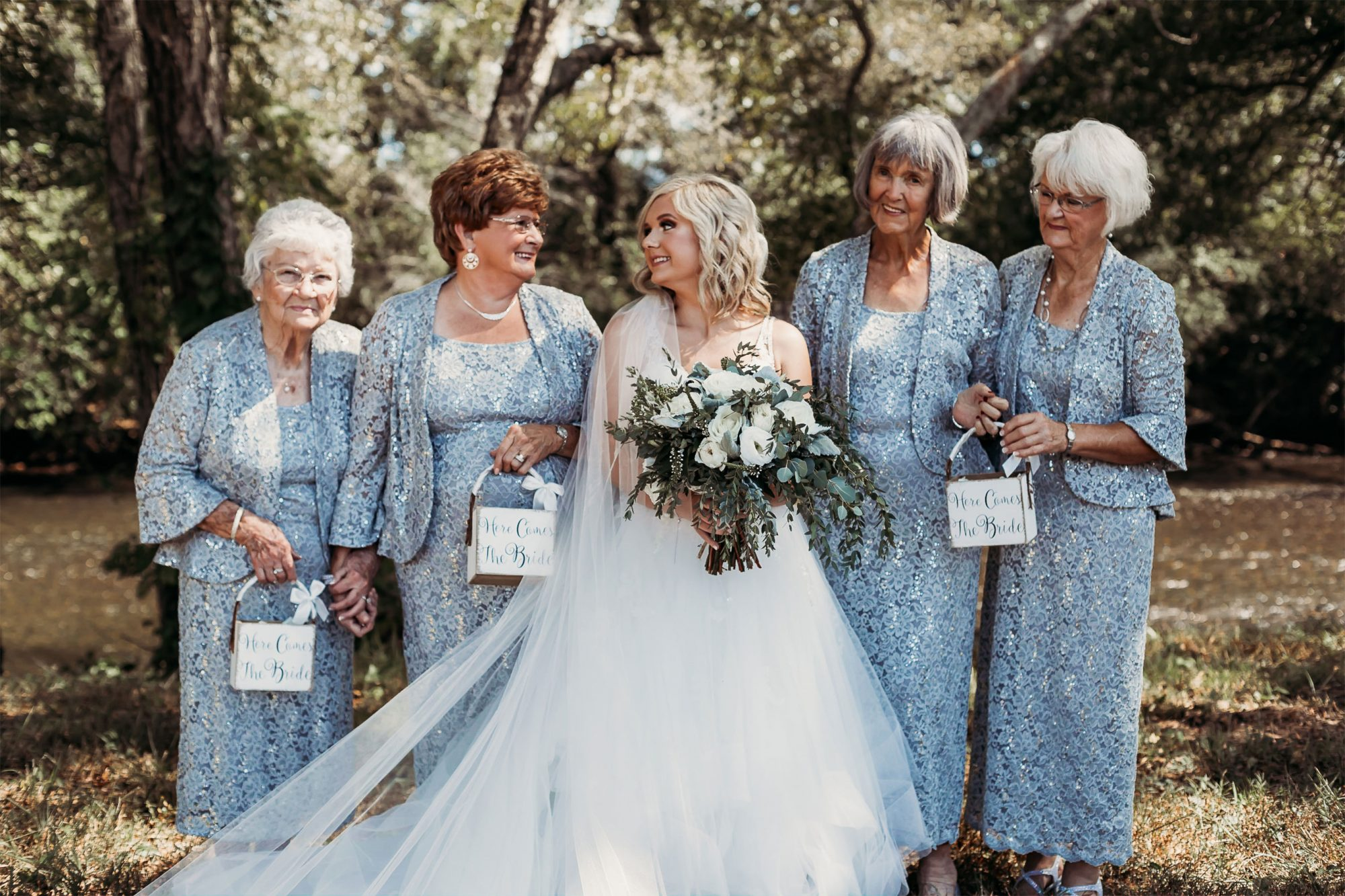 Lyndsey Raby and her 4 grandmothers as flower girls