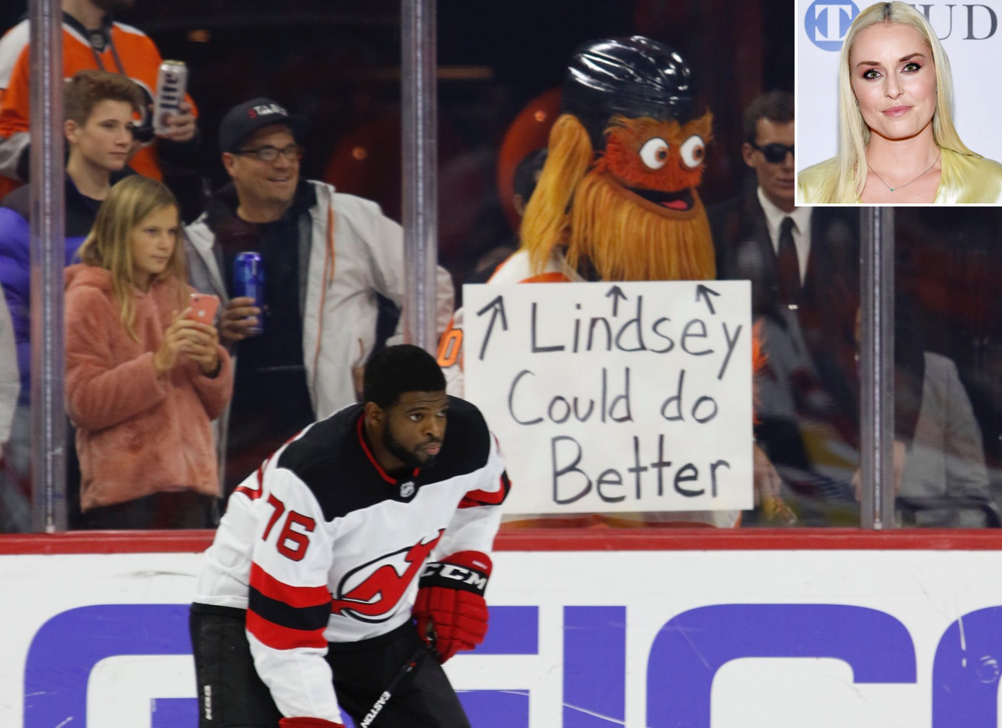Lindsay Vonn, P.K. Subban and Gritty