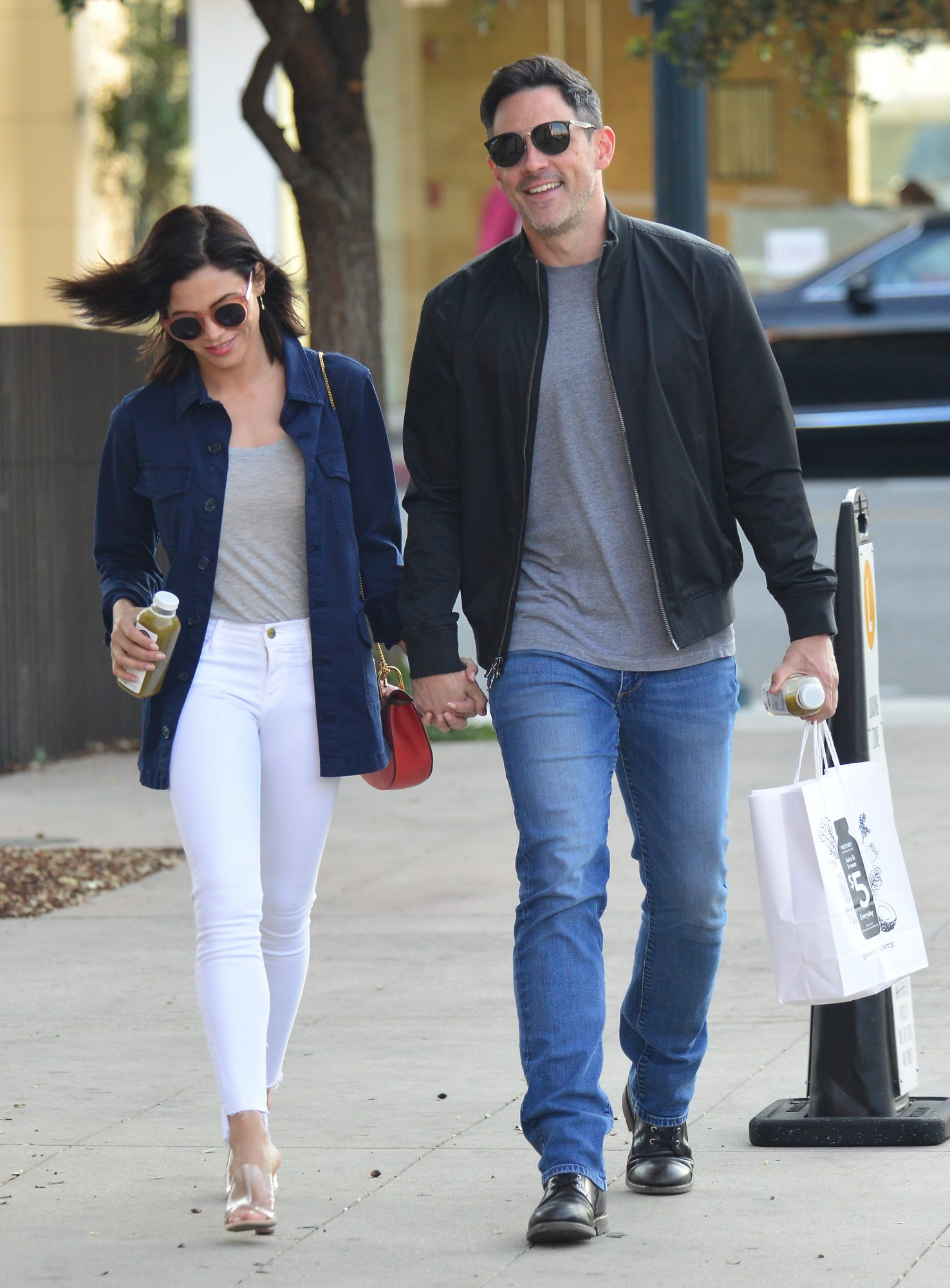 Jenna Dewan is all smiles as she is spotted with new boyfriend Steve Kazee as they walk hand in hand in Beverly Hills, Ca