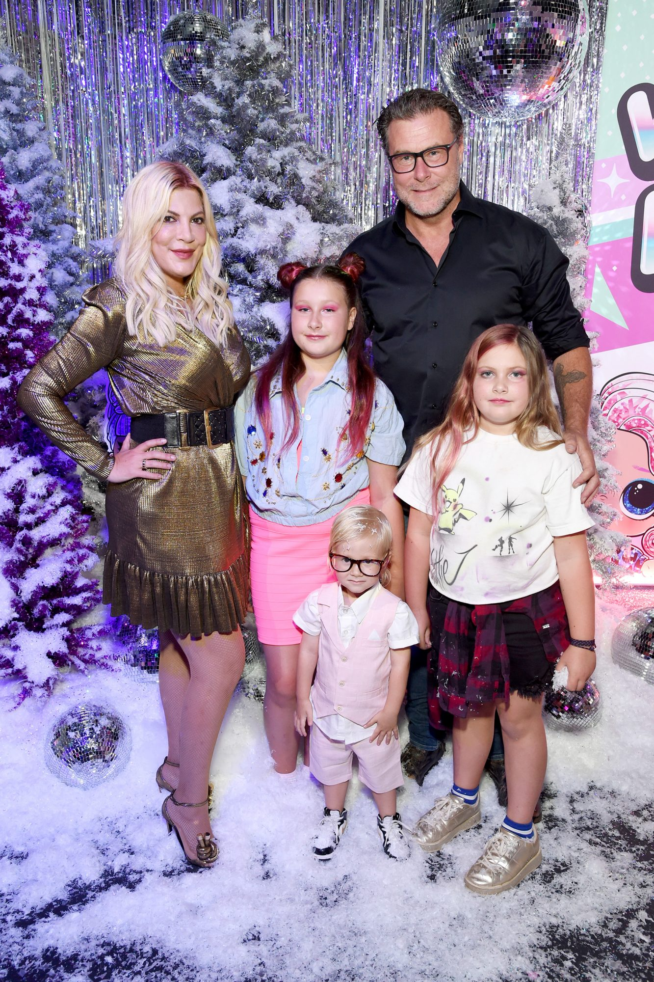Tori Spelling, Stella Doreen McDermott, Dean McDermott, Beau Dean McDermott, and Hattie Margaret McDermott attend L.O.L. Surprise!