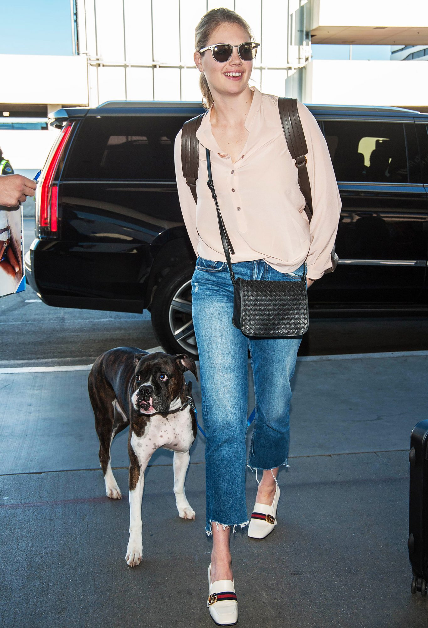 EXCLUSIVE: Kate Upton and Justin Verlander seen traveling with her dog at LAX airport