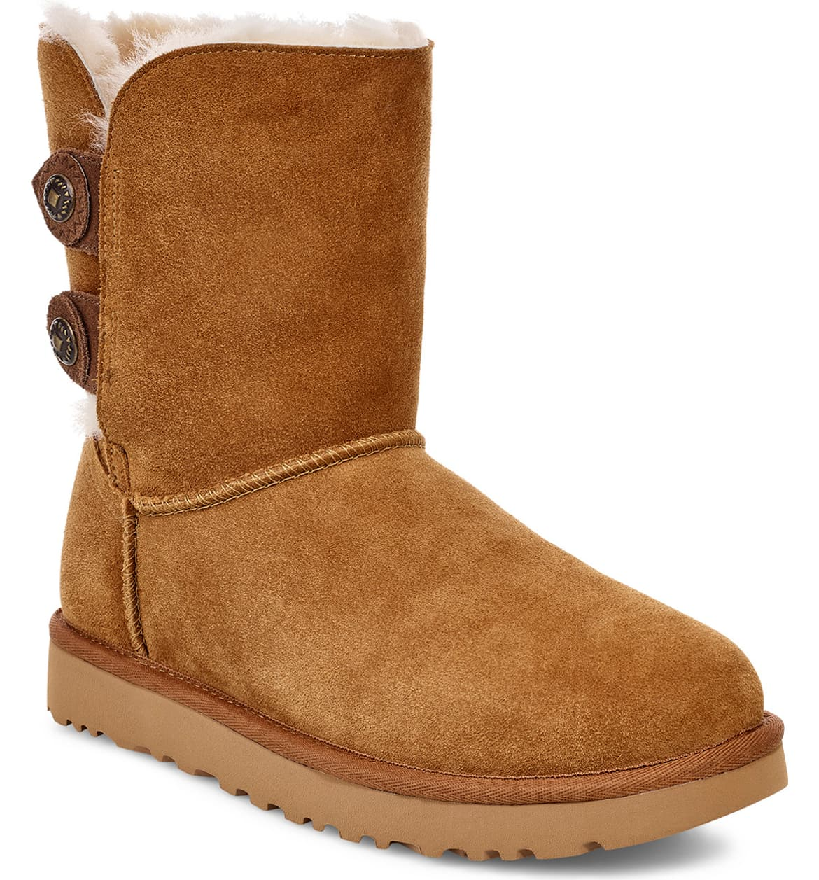 ugg two button short brown suede boots nordstrom