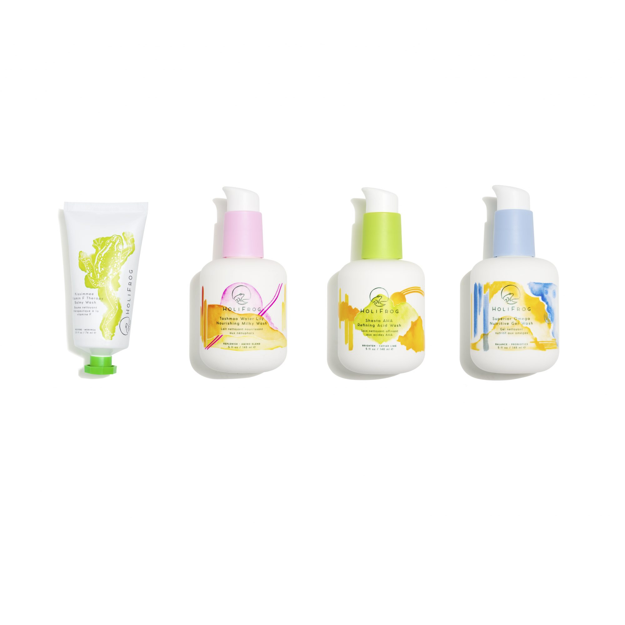 New beauty brand HoliFrog is hoping to refresh the first step in your skin care routine, cleansing, with four holistic and toxin-free face washes: An oil-based balm, purifying gel, soothing milky cream and refining AHA-packed cleanser.                             Buy It! HoliFrog Kissimmee Vitamin F Balmy Wash, Tashmoo Water Lily Nourishing Milky Wash, Shashta AHA Refining Acid Wash and Superior Omega Nutritive Gel Wash, $36 to $42; dermstore.com