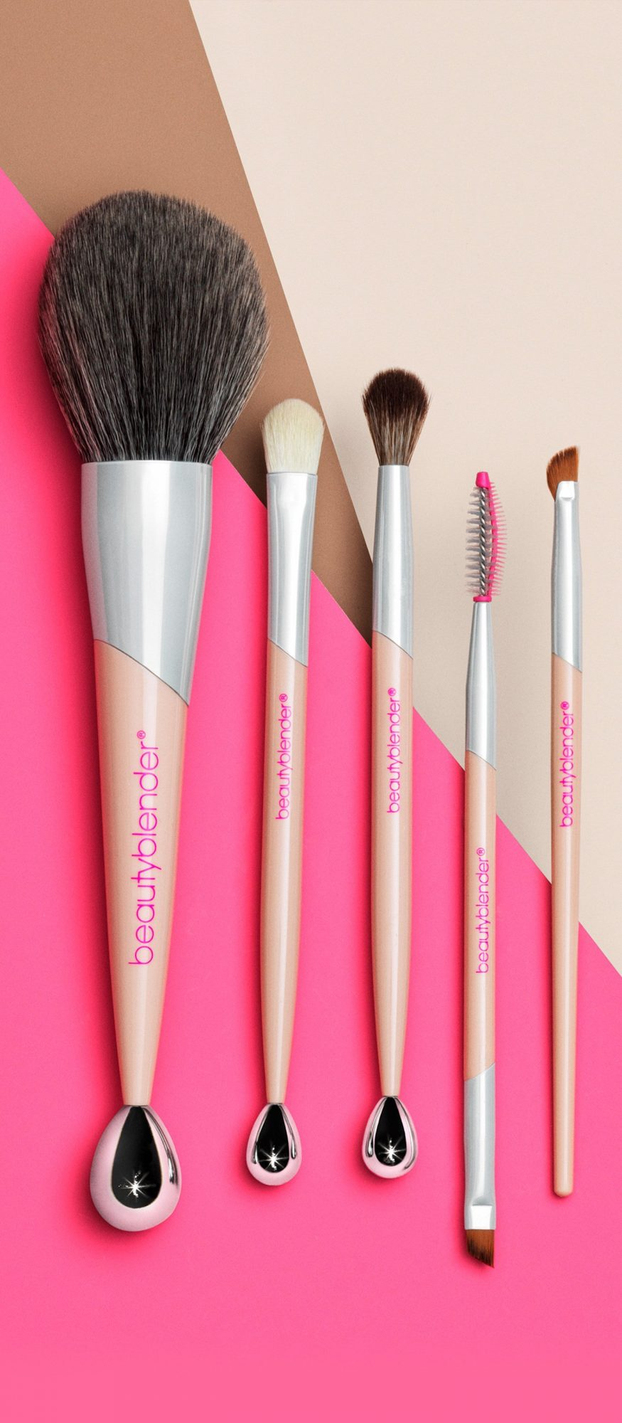 The innovative rollerball tip on these tools helps smooth skin before you apply makeup.                             Buy It! Beautyblender The Entourage 5-Piece Brush Set, $133; beautyblender.com