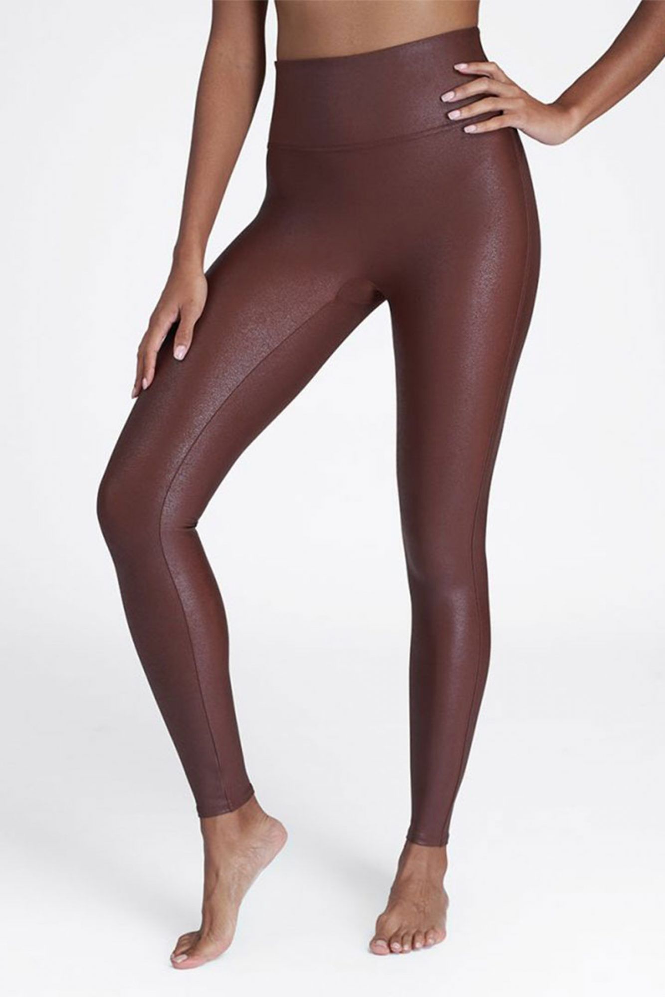 Spanx Faux Leather Leggings in Mahogany
