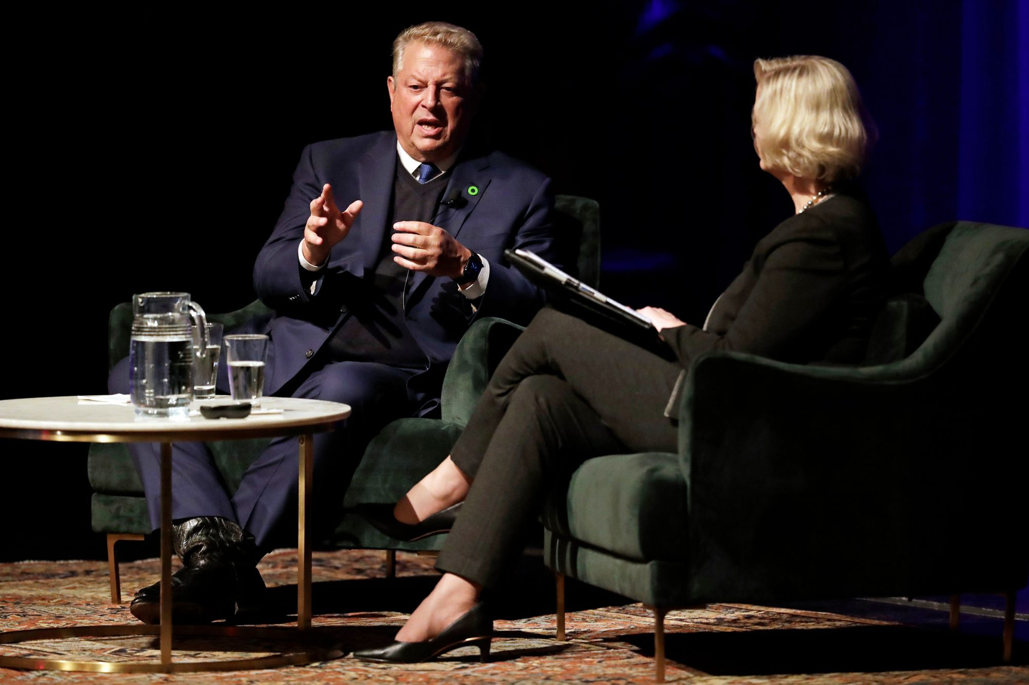 Al Gore, Susan Wente. Former Vice President Al Gore speaks with Susan Wente, Vanderbilt University interim provost and chancellor, in Nashville, Tenn. Earlier Gore spoke on climate change as part of a worldwide event called 24 Hours of Reality: Truth in Action Gore Climate Change, Nashville, USA - 20 Nov 2019
