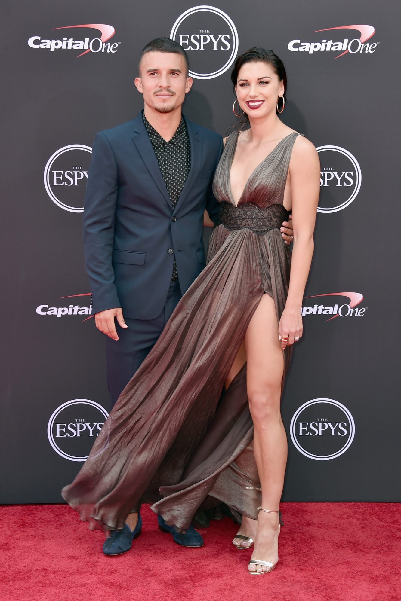 Soccer players Servando Carrasco (L) and wfie Alex Morgan attend The 2018 ESPYS at Microsoft Theater on July 18, 2018 in Los Angeles, California