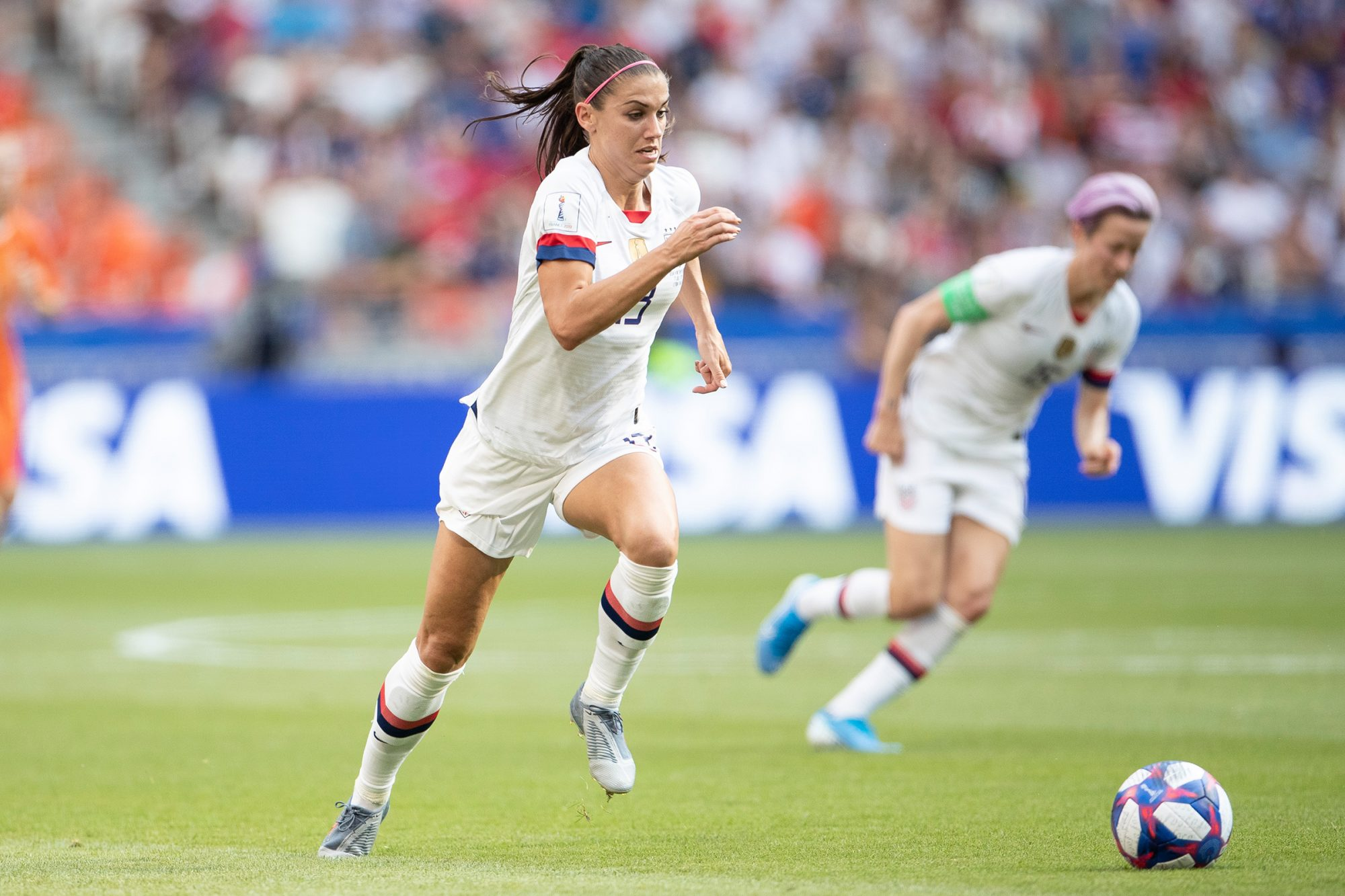 Alex Morgan of the USA controls the ball during the 2019 FIFA Women's World Cup France Final match between The United State of America and The Netherlands at Stade de Lyon on July 07, 2019 in Lyon, France