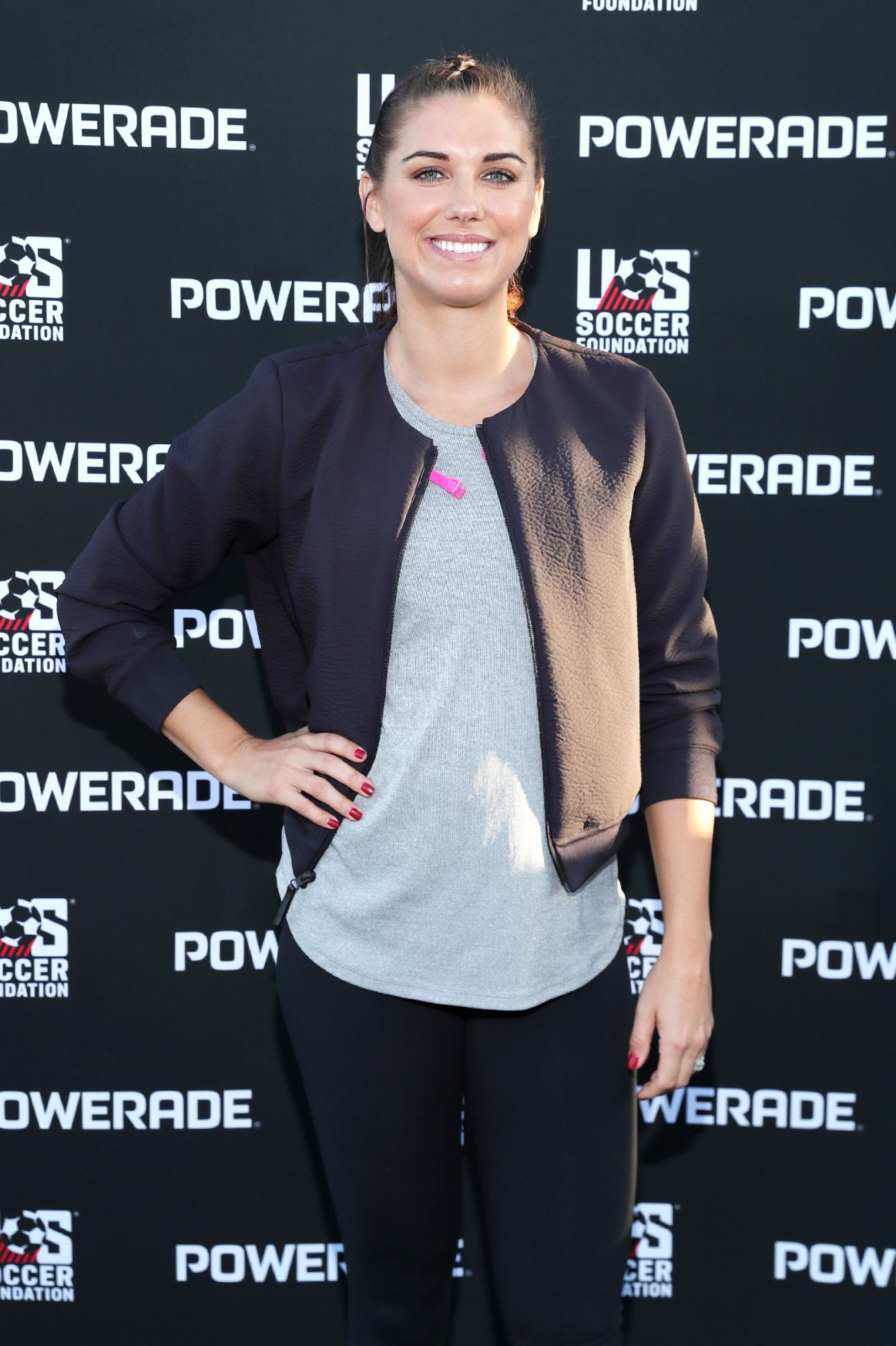 Alex Morgan attends the unveiling of the POWERADE and U.S. Soccer Foundation Power Pitch on November 05, 2019 in Gardena, California