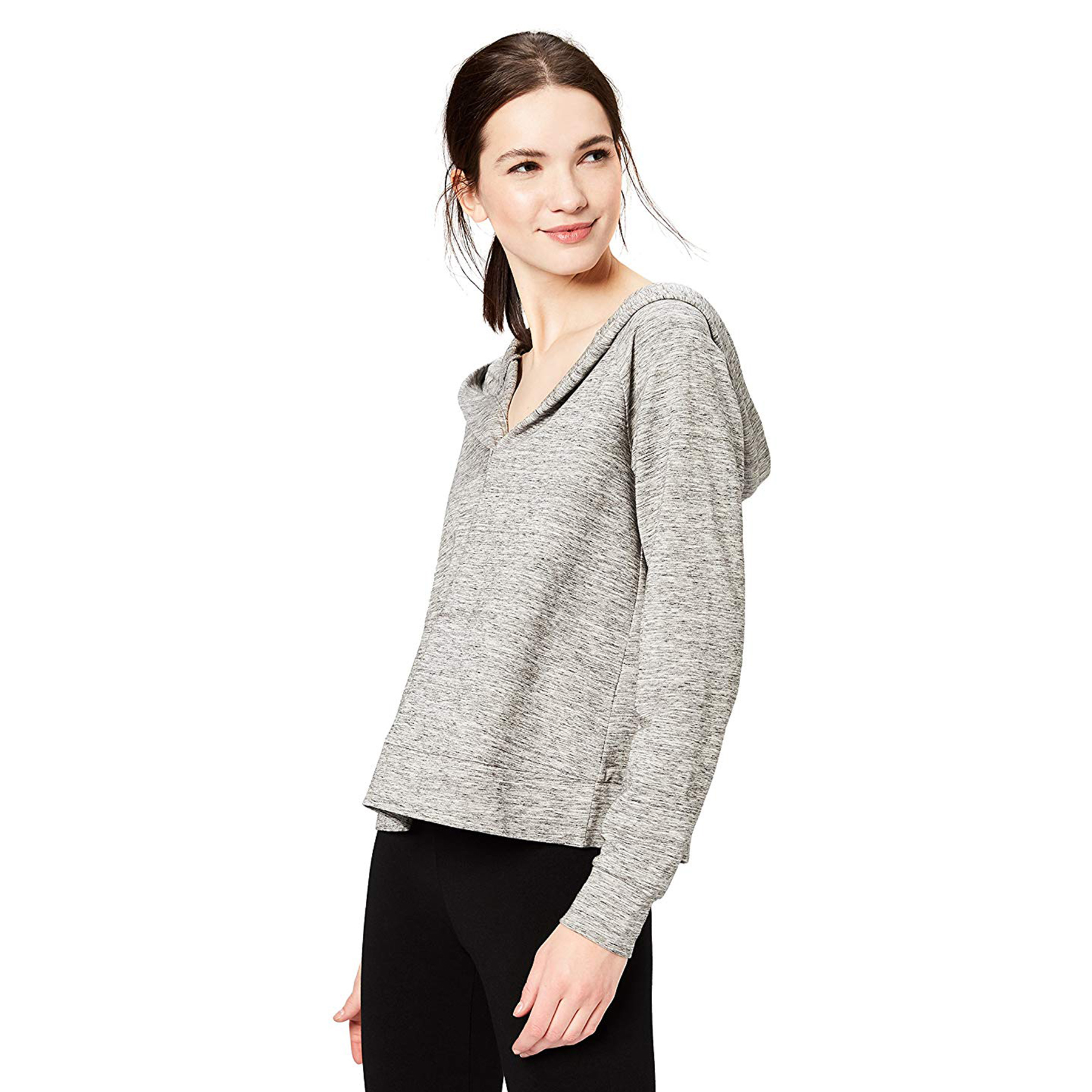 Daily Ritual Women's Terry Cotton and Modal Hooded Henley Pullover