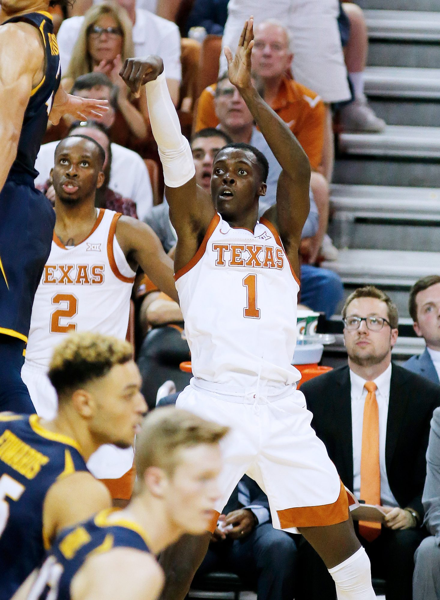 Andrew Jones #1 of the Texas Longhorns watches his three point shot go in the basket during the game with the Northern Colorado Bears. Jones lead his team with 20 points at The Frank Erwin Center on November 05, 2019 in Austin, Texas