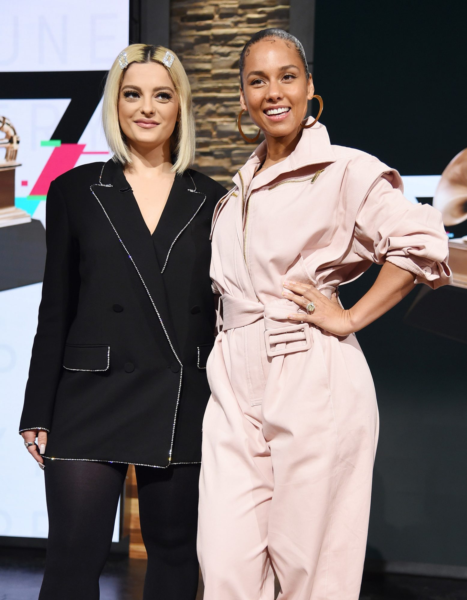 Bebe Rexha and Alicia Keys pose at the 62nd Grammy Awards Nominations at CBS Broadcast Center on November 20, 2019 in New York City