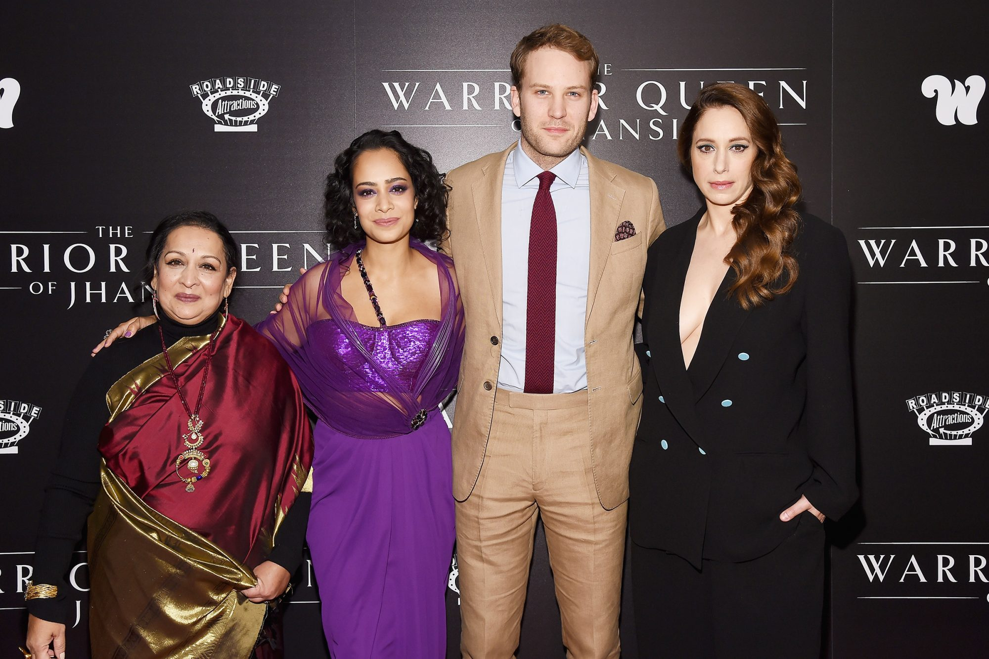 """Producer, director and co-screenwriter Swati Bhise, actress, executive producer and co-screenwriter Devika Bhise, actors Ben Lamb and Jodhi May attend """"The Warrior Queen of Jhansi"""" World Premiere hosted by The Wing at Metrograph on November 13, 2019 in New York"""