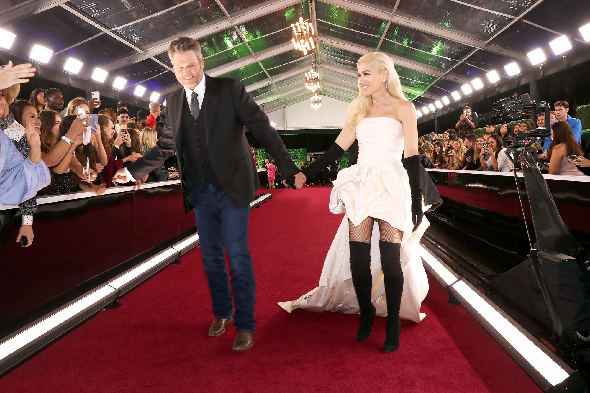 Blake Shelton and Gwen Stefani arrive to the 2019 E! People's Choice Awards held at the Barker Hangar on November 10, 2019