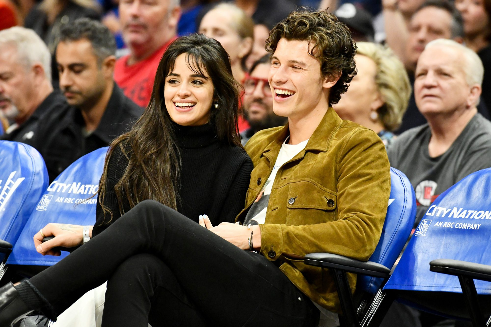 Camila Cabello and Shawn Mendes attend a basketball game between the Los Angeles Clippers and the Toronto Raptors at Staples Center on November 11, 2019 in Los Angeles, California