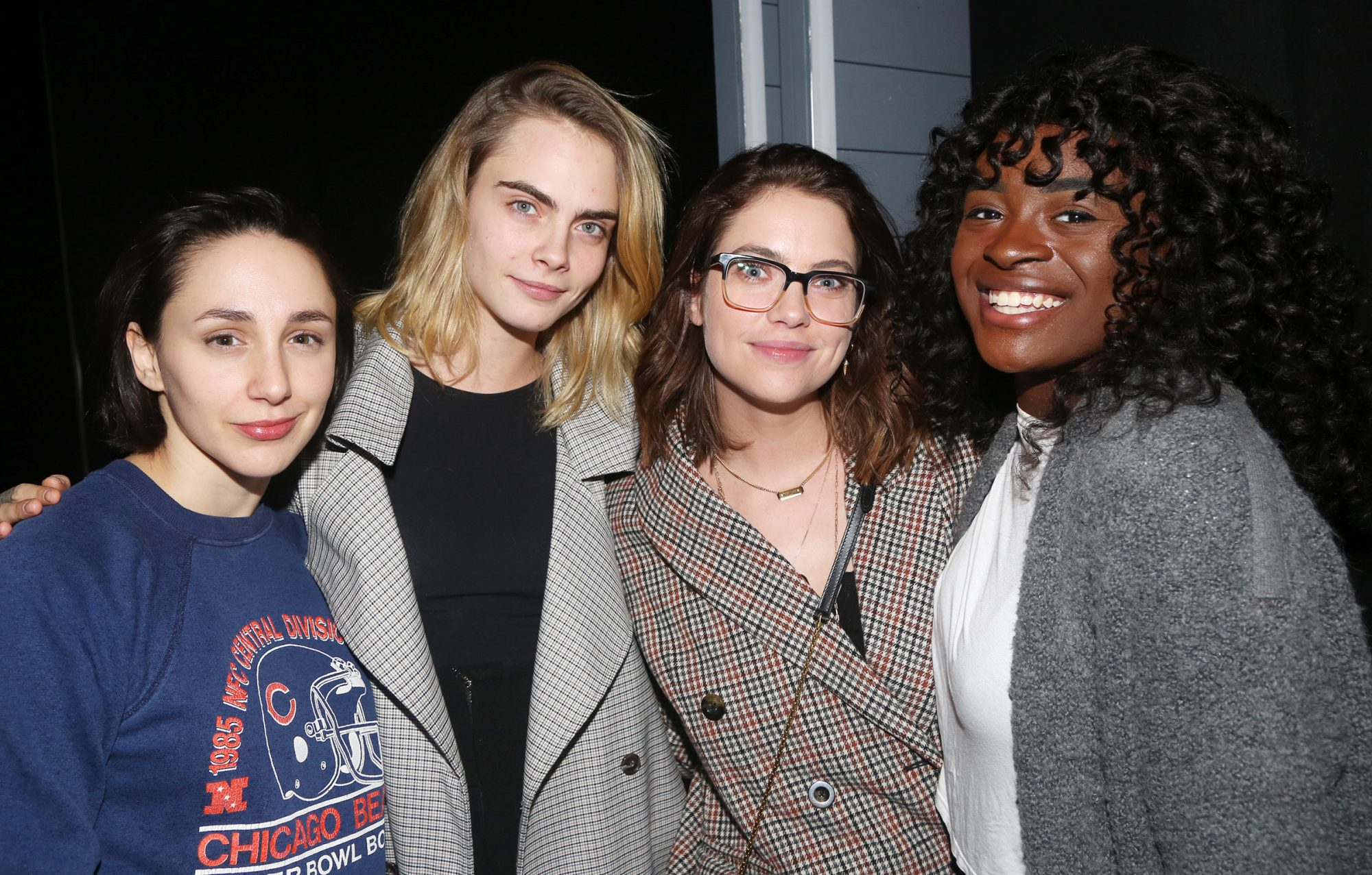 """Lauren Patten, Cara Delevingne, Asley Benson and Celia Rose Gooding pose backstage at the new Alanis Morissette musical """"Jagged Little Pill"""" on Broadway at The Broadhurst Theatre on November 20, 2019 in New York City"""