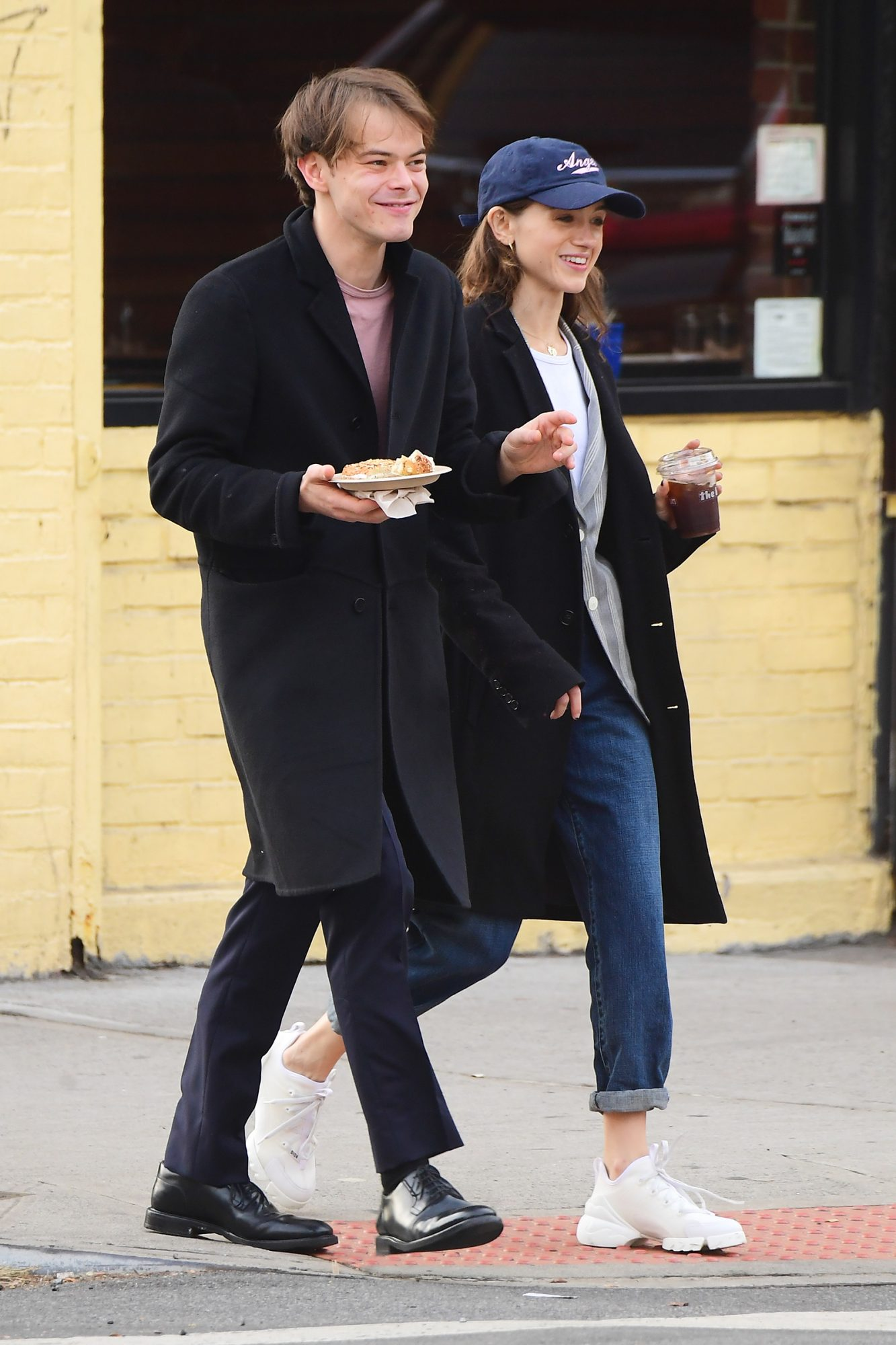 Stranger Things Stars Charlie Heaton and Natalia Dyer Wear Matching Outfits for Coffee Run in NYC