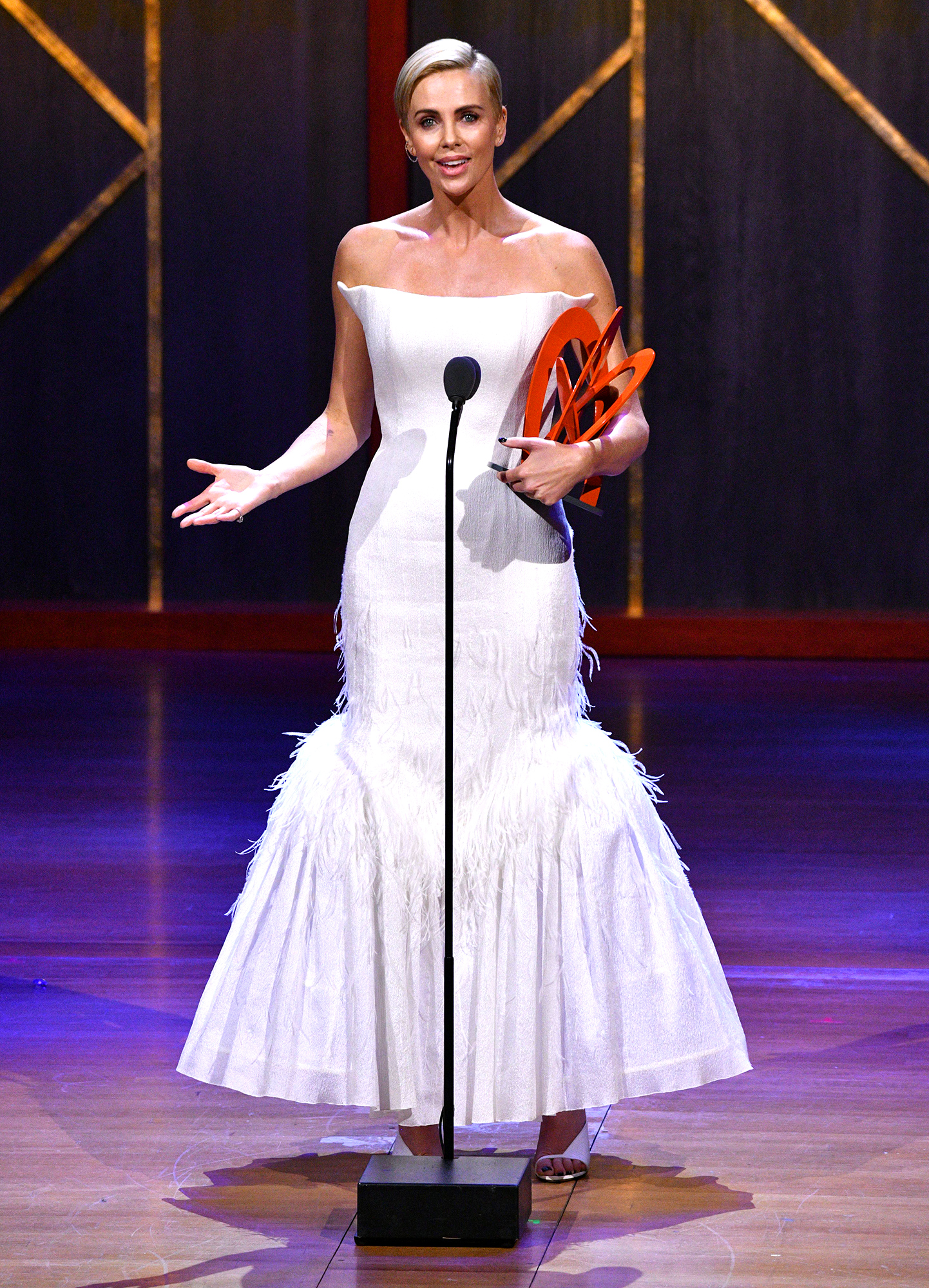 Charlize Theron speaks onstage at the 2019 Glamour Women Of The Year Awards