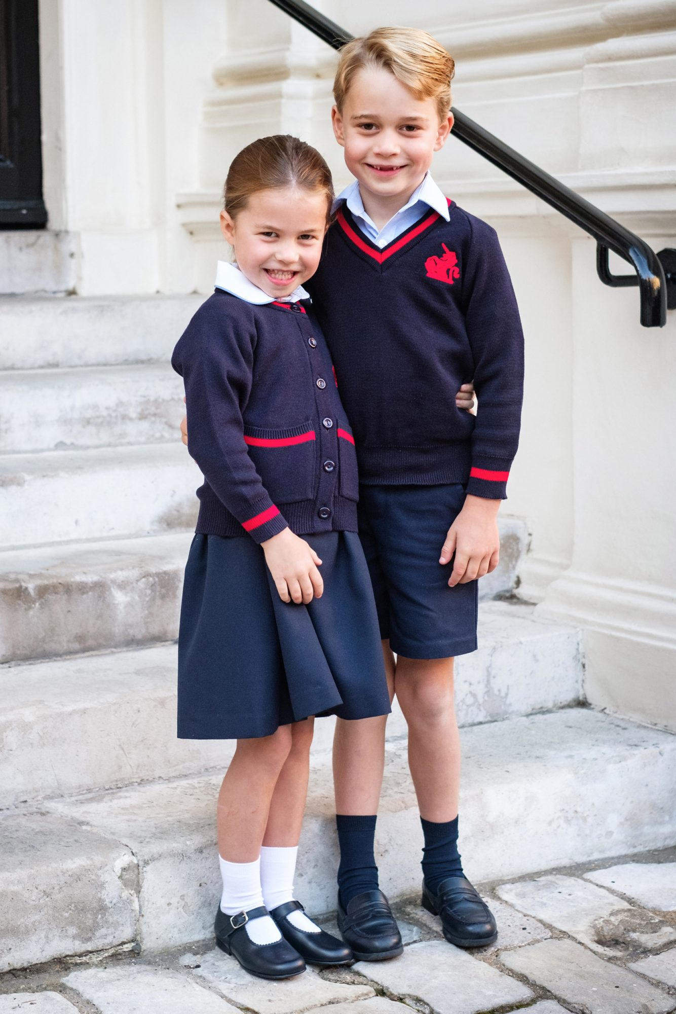 Office at Kensington Palace. Handout photo released by the Duke and Duchess of Cambridge of Prince George and Princess Charlotte at Kensington Palace shortly before they left for Thomas's Battersea for her first day at the school