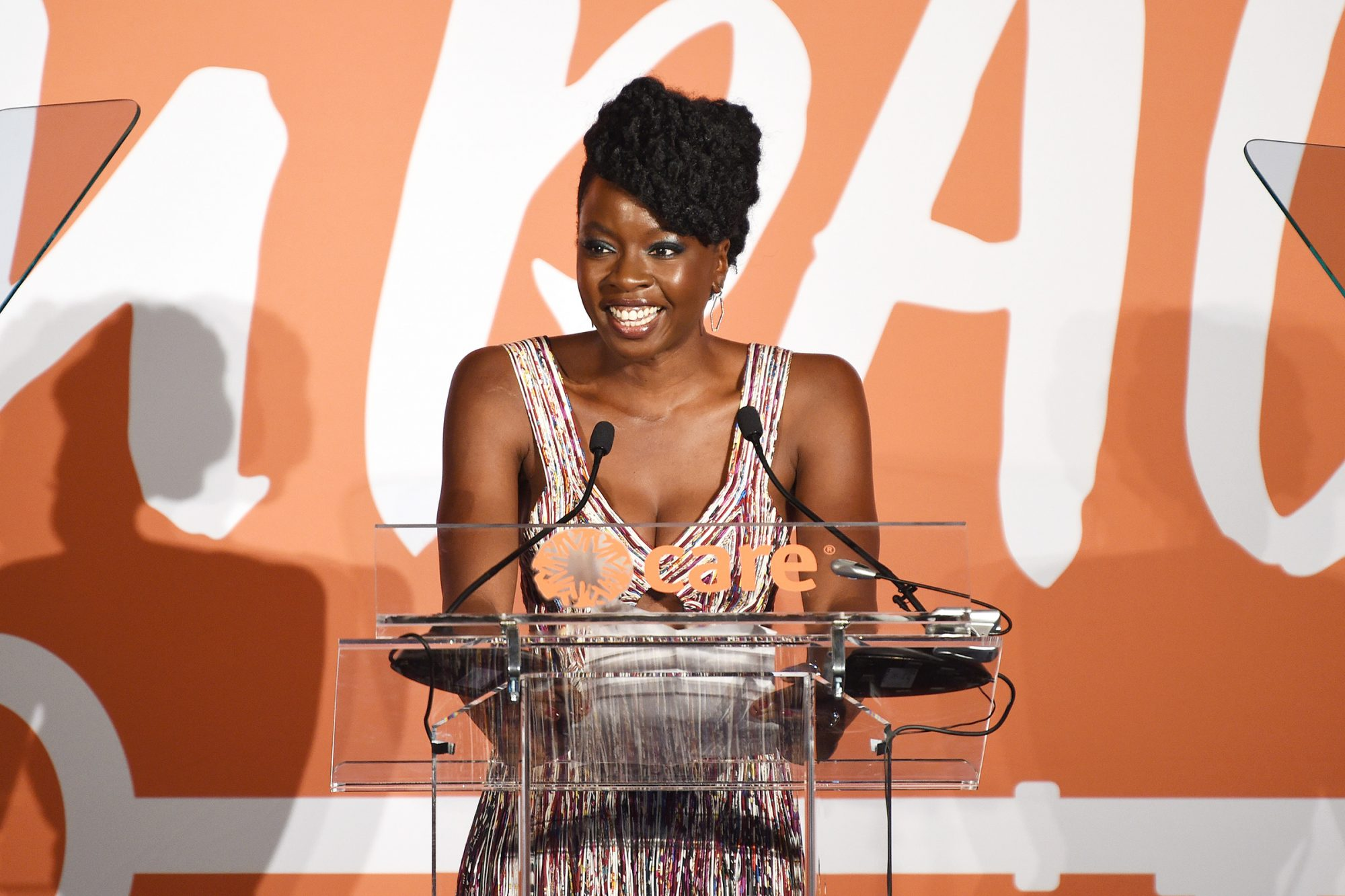 Danai Gurira speaks onstage during the 2nd Annual CARE Impact Awards Dinner at Mandarin Oriental on November 21, 2019 in New York City
