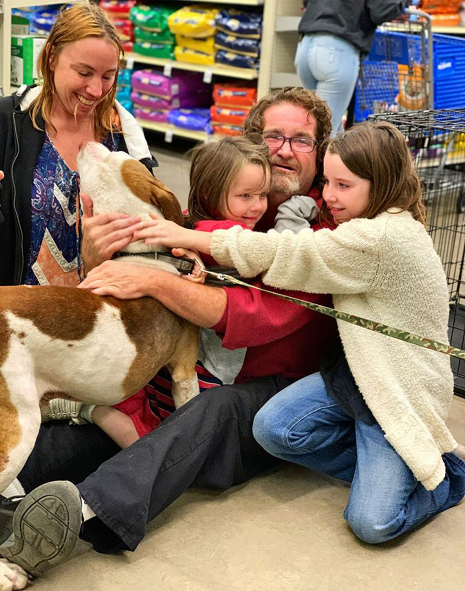Dopey the dog reunites with his family