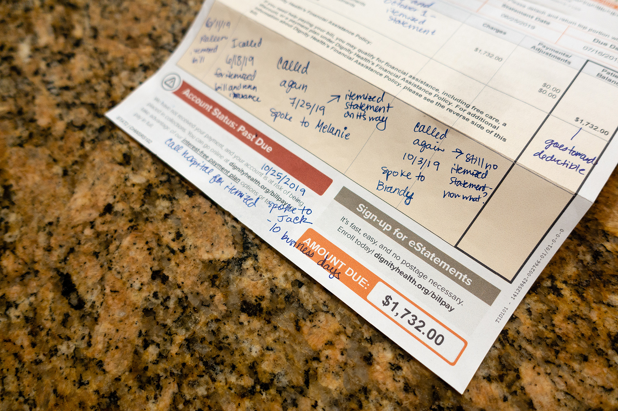 The Bransons received a $2,658.98 bill, including a $1,732 charge from a visit to the hospital emergency department.