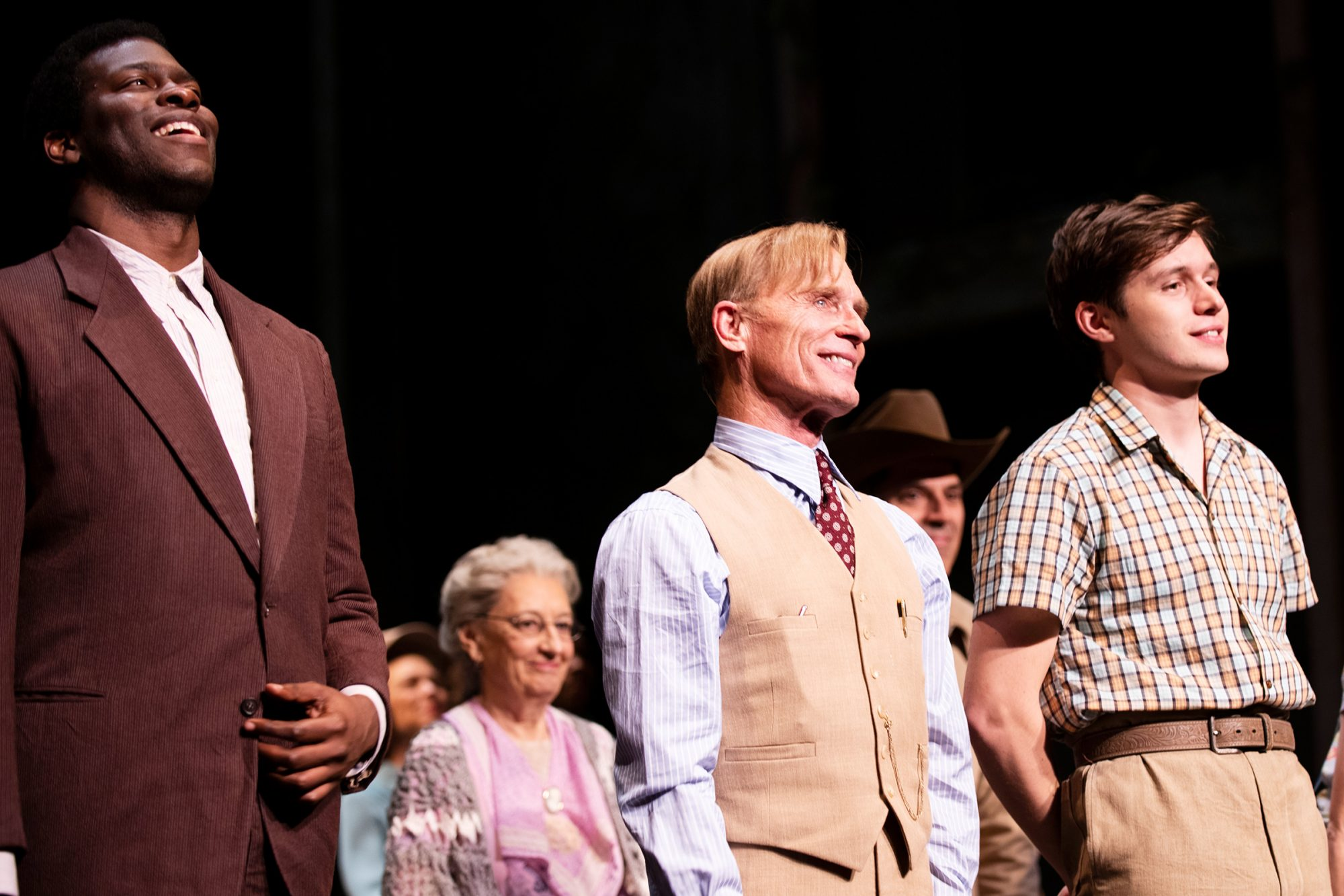 Ed Harris took his first bow as Atticus Finch in To Kill a Mockingbird on Broadway – along with Nick Robinson