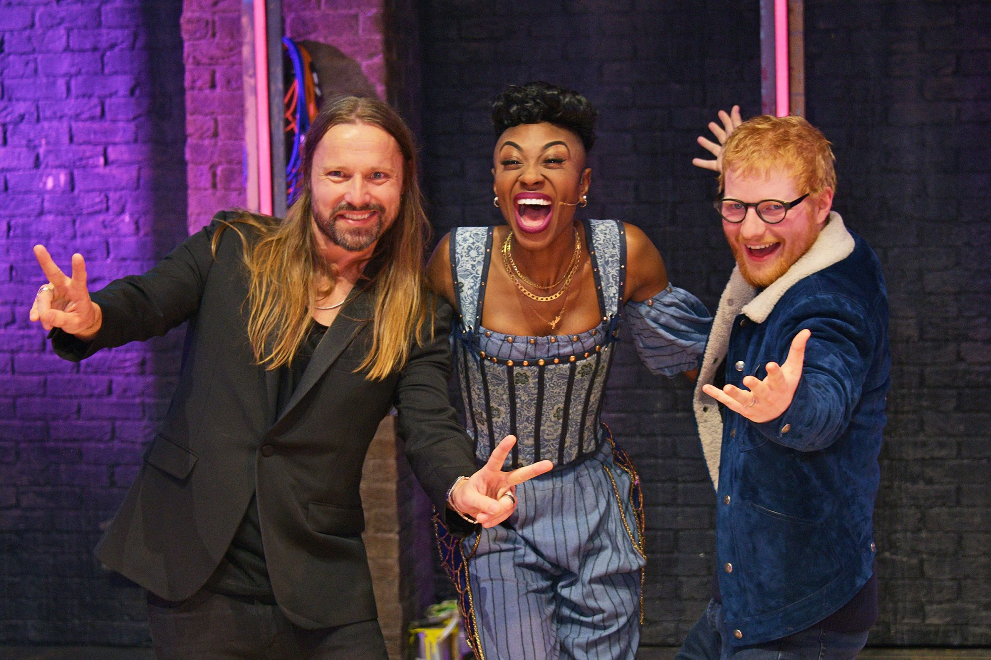 """Max Martin, Miriam-Teak Lee and Ed Sheeran attend the press night performance of """"& Juliet"""" at Shaftesbury Theatre on November 20, 2019 in London, England"""