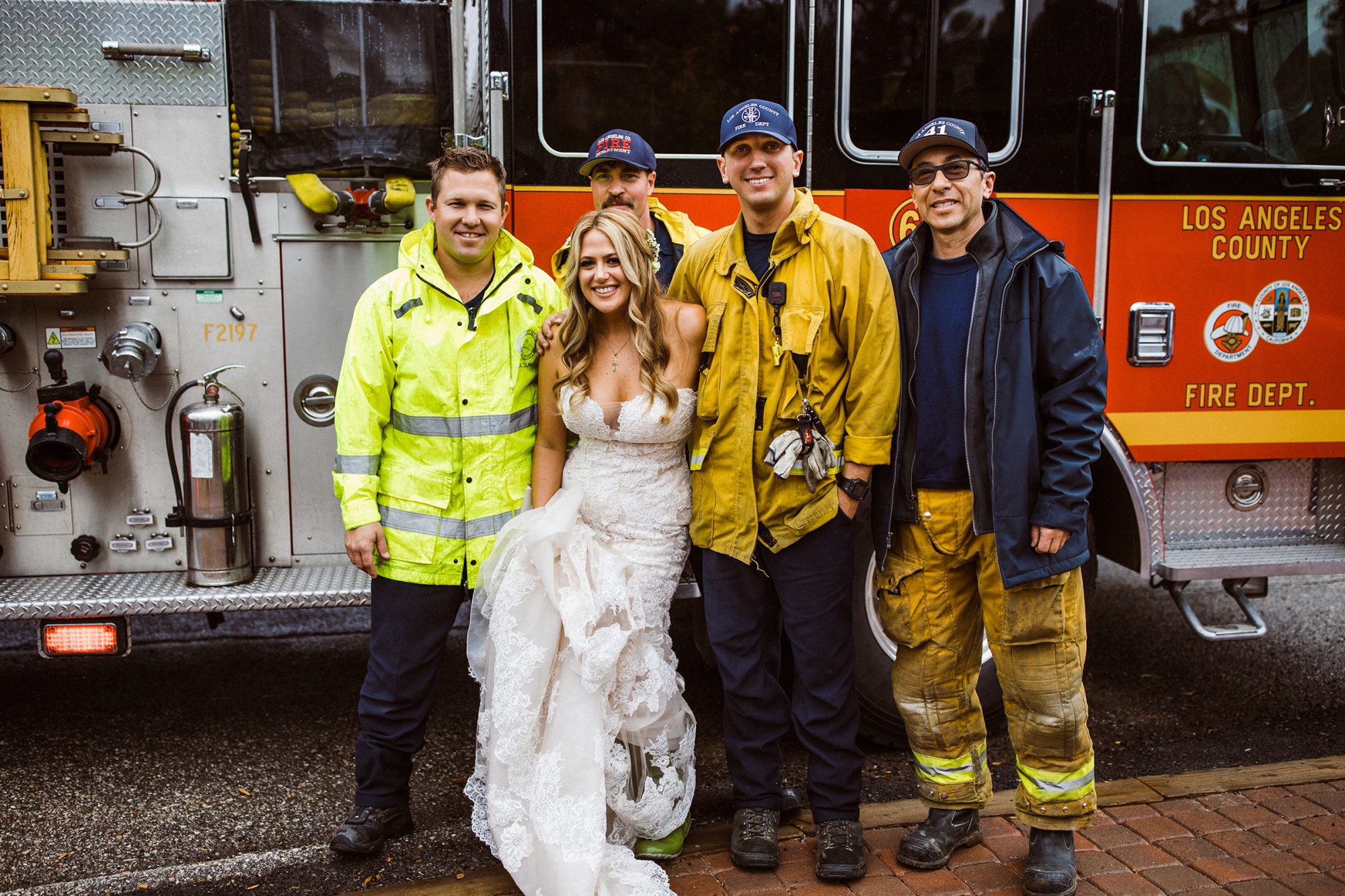 Firefighters Help Stranded Bride - Julie and Geof's wedding day - firefighters escorting Julie to wedding venue at the 1909 in Topanga Canyon