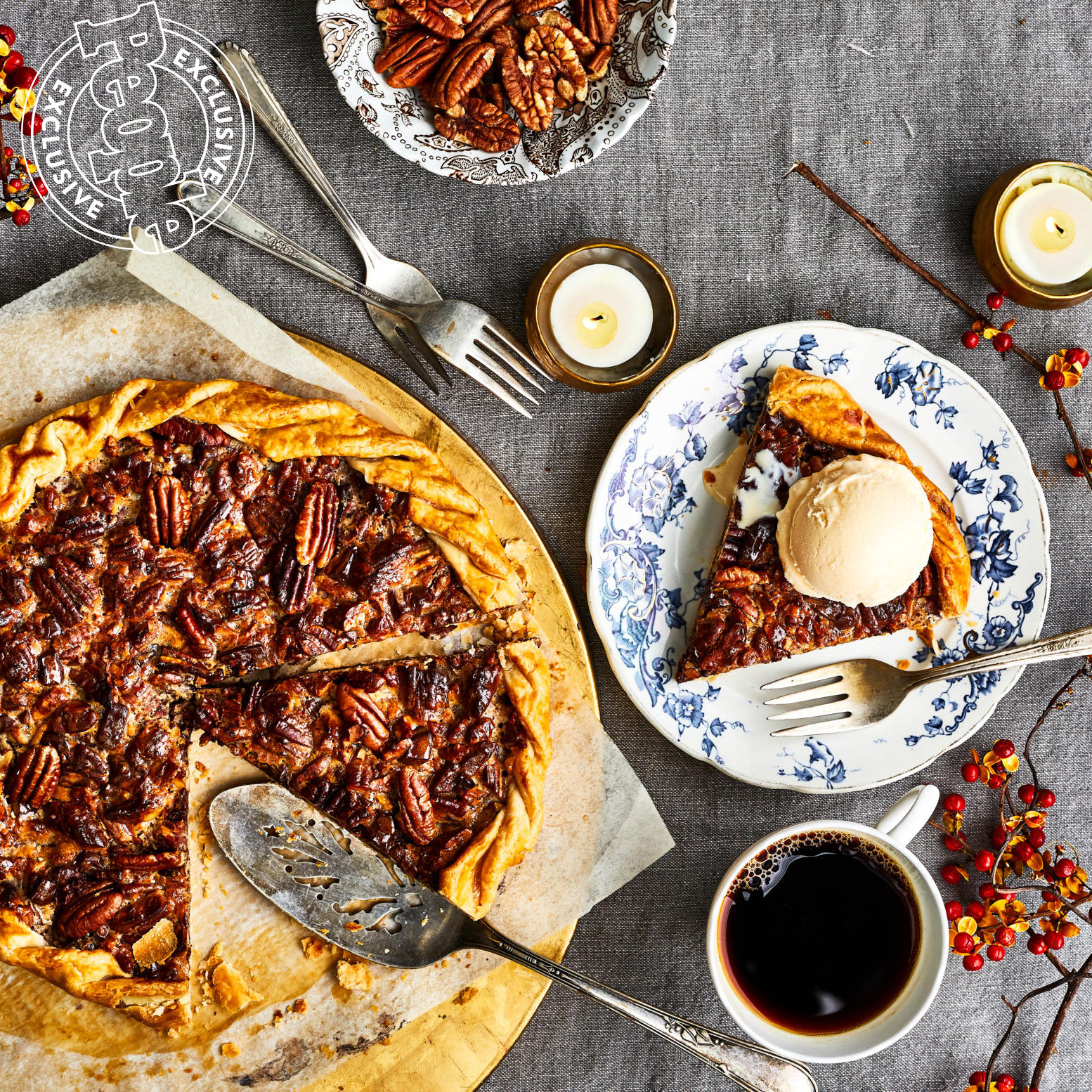 PEOPLE FOOD - 11/11 ISSUE - Thanksgiving Package - Cathy Barrow - Chocolate & Pecan Pie Galette