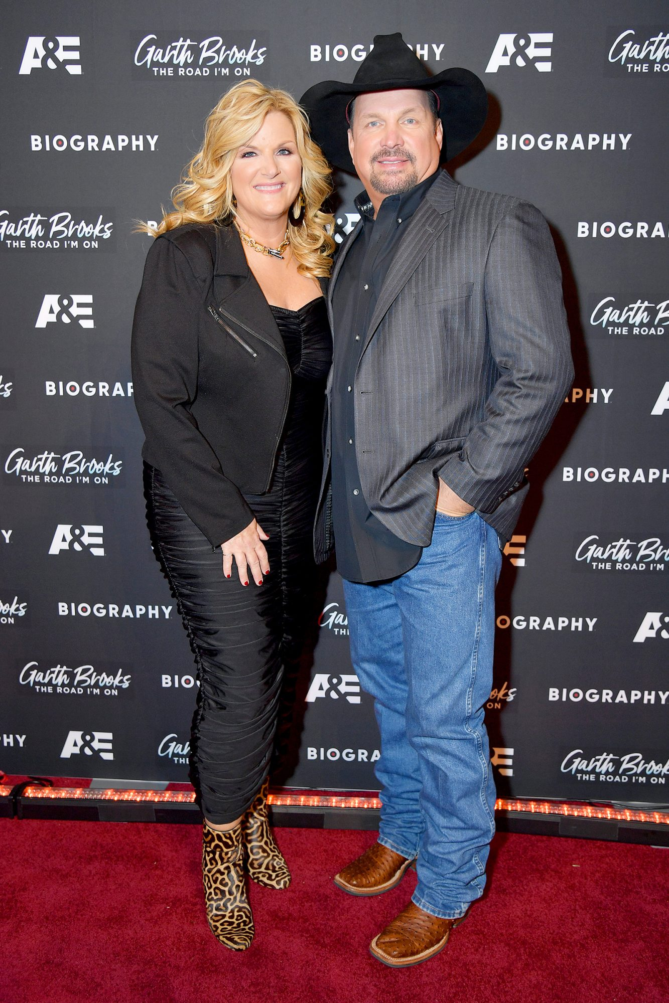 """Trisha Yearwood and Garth Brooks attend the """"Garth Brooks: The Road I'm On"""" Biography Celebration at The Bowery Hotel on November 18, 2019 in New York City."""