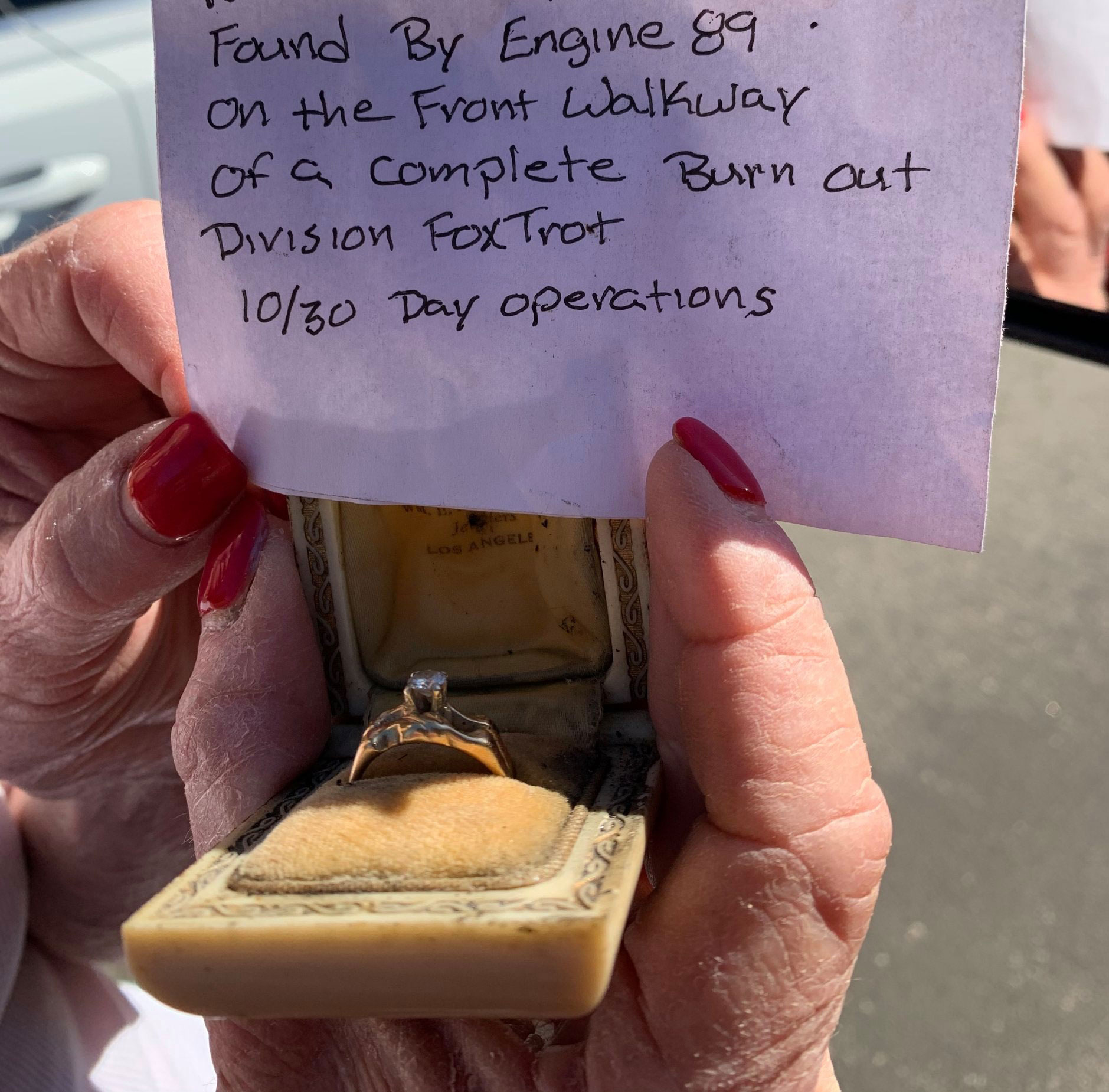 In 1961, 484 homes were destroyed by the Bel Air Fire. This past week, some of those same (rebuilt) homes were again destroyed in the #gettyfire. On October 30th, Engine 89 was working at the fire and found a small ring box out in front of the only home destroyed in that section of the street. Sitting there all by itself. When they opened it and saw the beautiful ring inside, they just knew this would be very important to the homeowner. They delivered it to the Command Post. A few days later, once residents were safely able to return to their homes, a couple LAFD officers set off on their mission to find the ring's owner. They found her. That ring belonged to her mother...who lived in the home when it was destroyed in 1961 and this ring - it was the only thing that survived. Her mother was with her in the home when they had to evacuate last week. And now, the ring is again the survivor...finding it's way to a spot where firefighters 'rescued' it. #wow The resident was speechless and beyond happy to have the ring back. Among the stories of heartbreak and devastation, these moments lighten our hearts. We hope this beloved family heirloom continues to bring joy and smiles to its family.