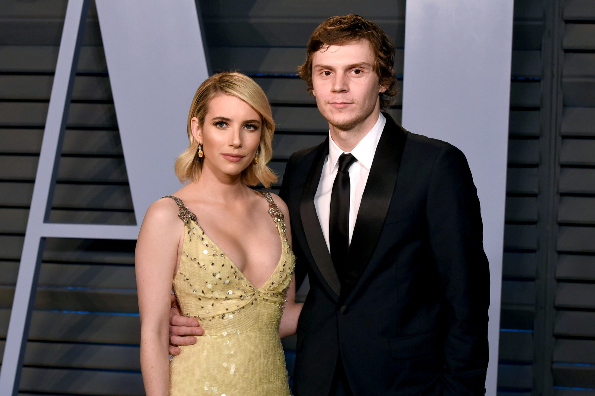 Emma Roberts and Evan Peters- 2018 Vanity Fair Oscar Party Hosted By Radhika Jones - Arrivals