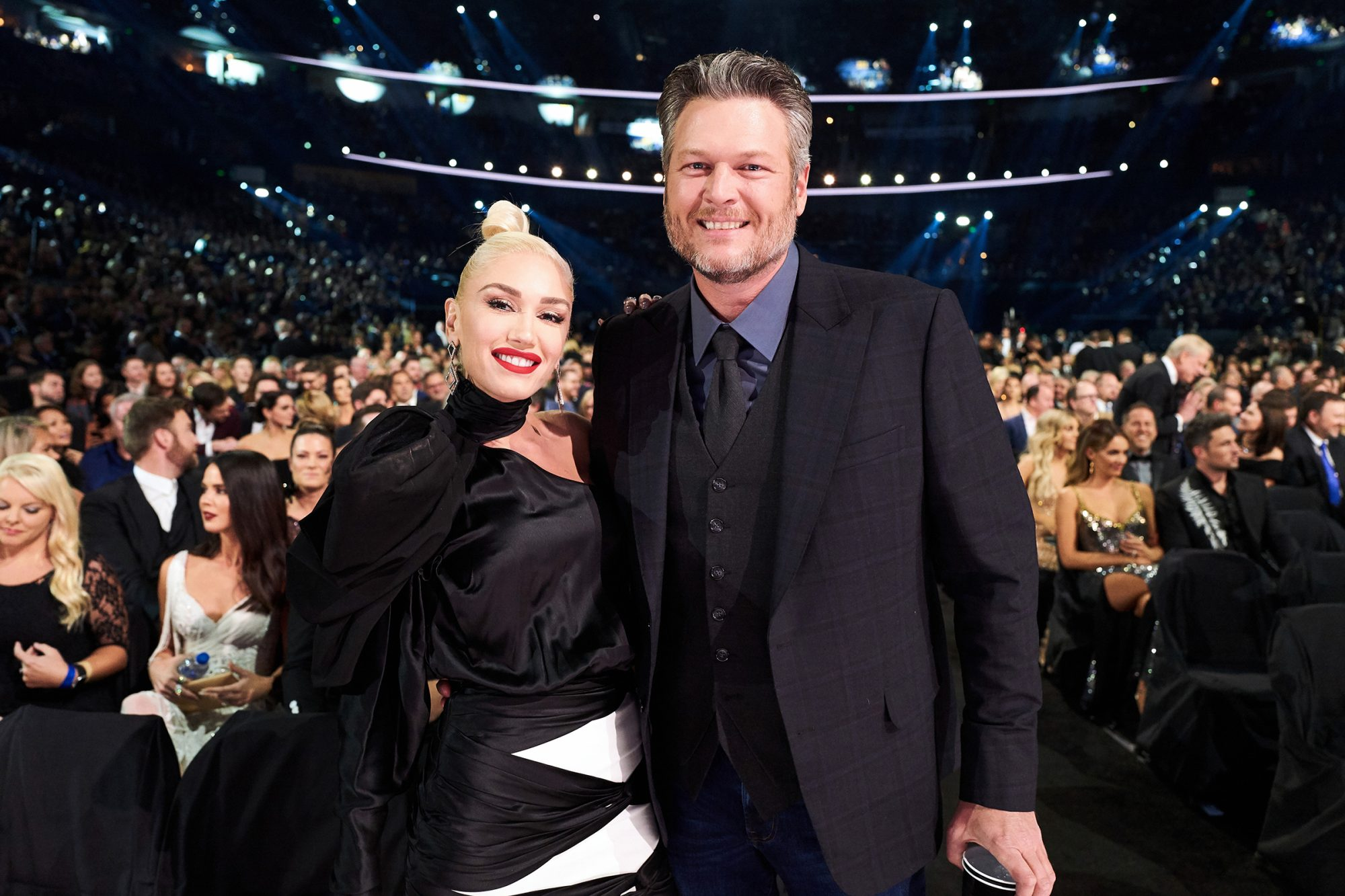 Gwen Stefani (L) and Blake Shelton attend the 53rd annual CMA Awards at the Bridgestone Arena on November 13, 2019 in Nashville, Tennessee