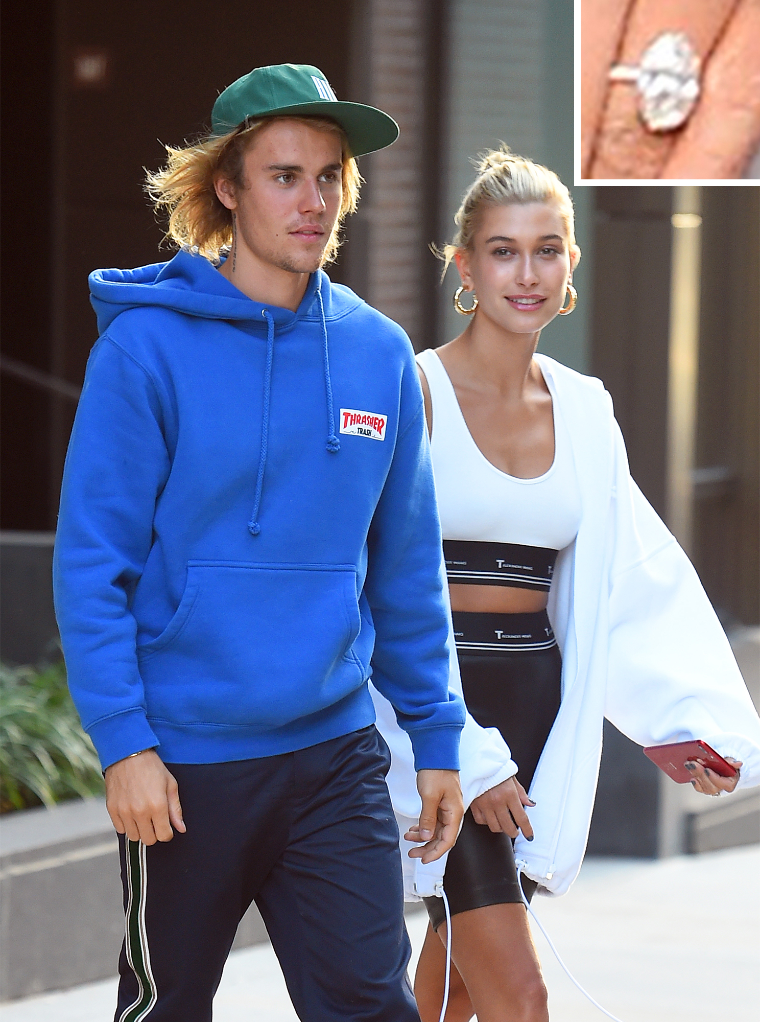 Justin Bieber leaves his apartment with his fiance Hailey Baldwin on their way to have dinner in Brooklyn New York today