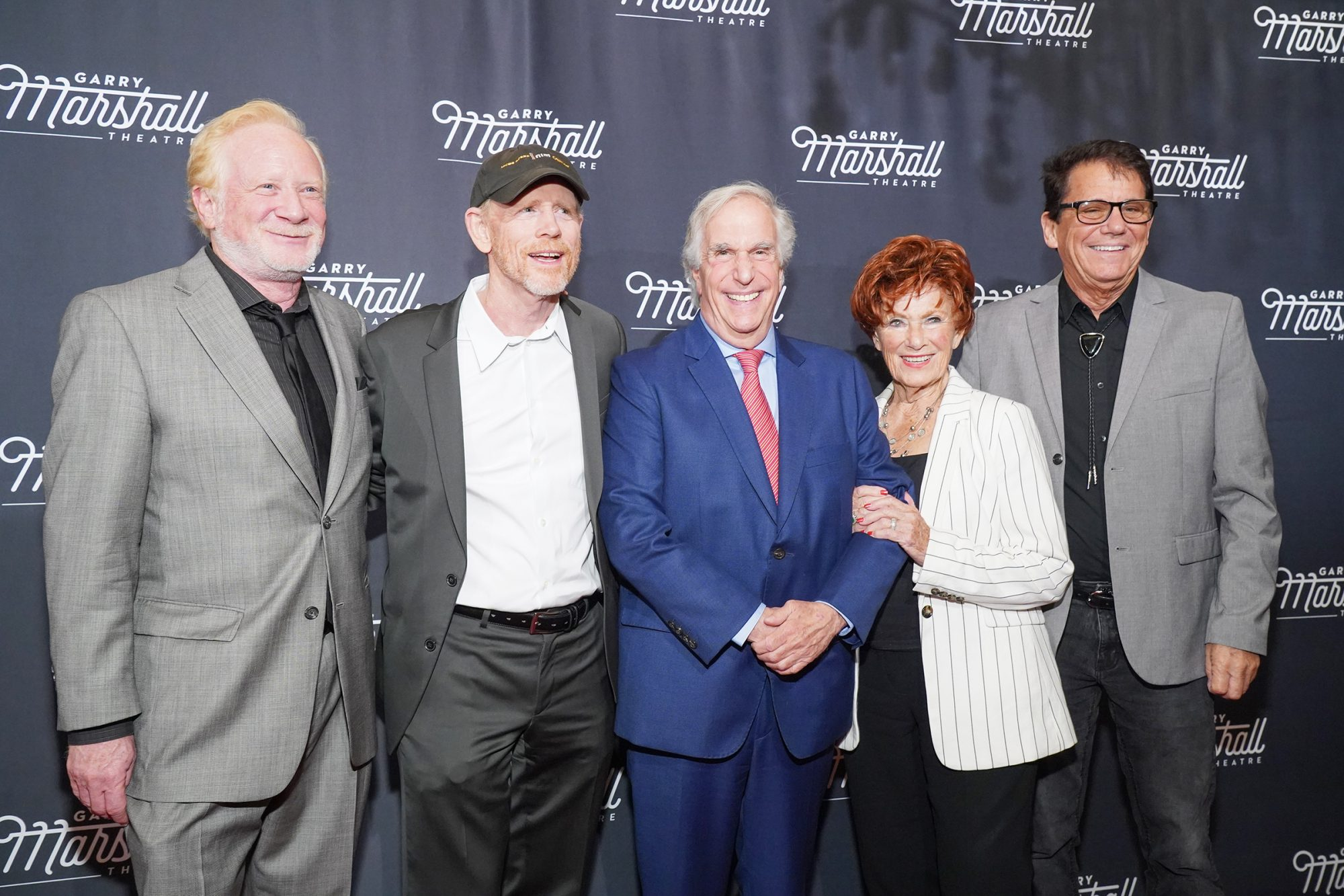 """Don Most, Ron Howard, Henry Winkler, Marion Ross and Anson Williams attend Garry Marshall Theatre's 3rd Annual Founder's Gala Honoring Original """"Happy Days"""" Cast at The Jonathan Club on November 13, 2019 in Los Angeles"""