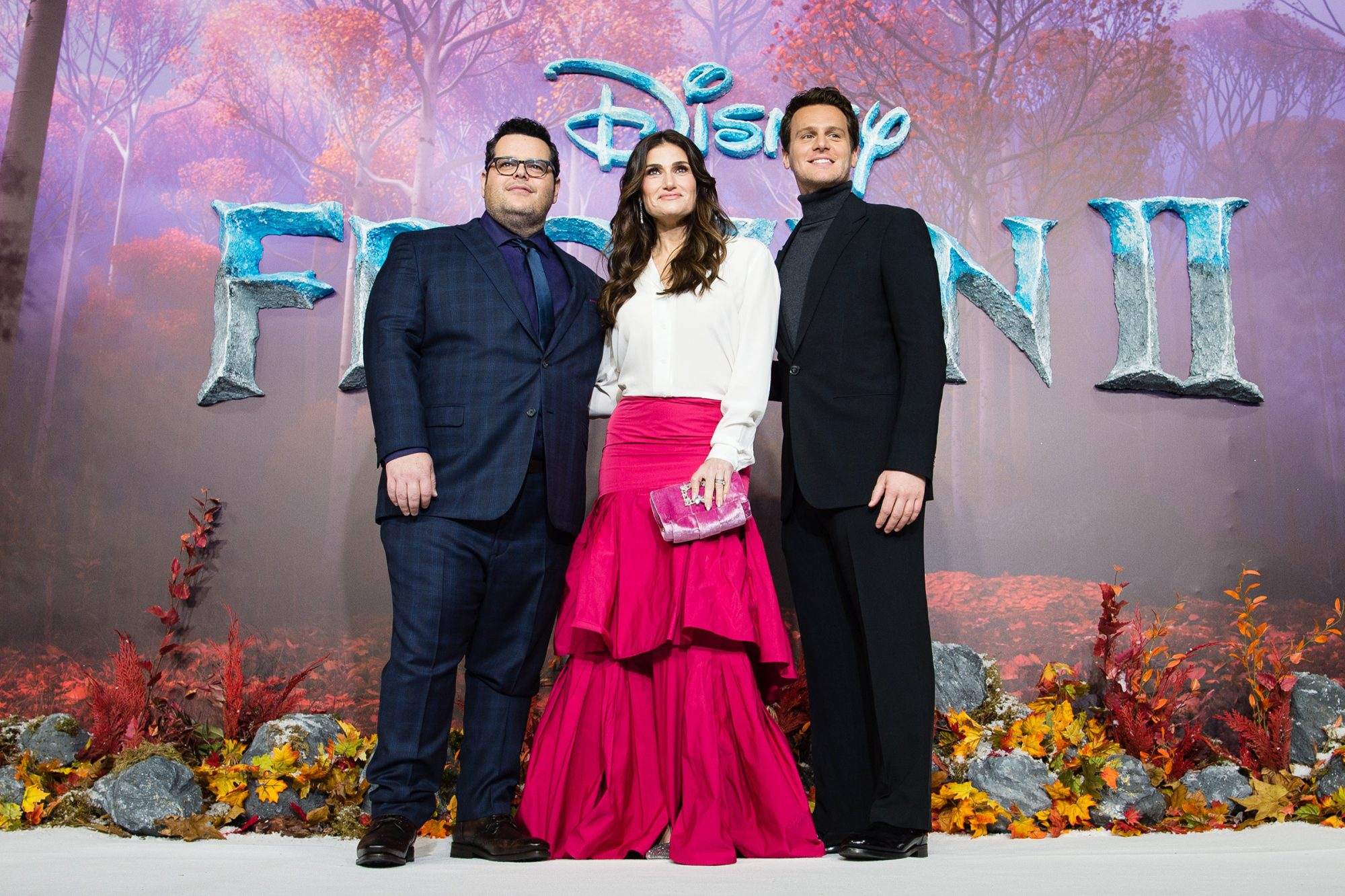 """Josh Gad, Idina Menzel and Jonathan Groff attend the """"Frozen 2"""" European premiere at BFI Southbank on November 17, 2019 in London, England"""