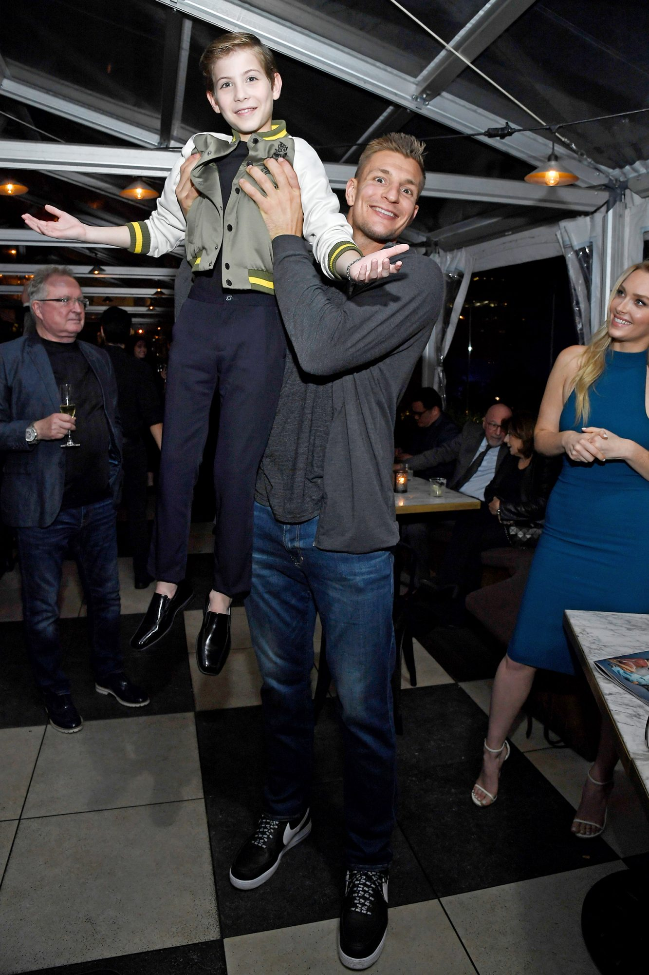Jacob Tremblay, Rob Gronkowski and Camille Kostek attend the Hollywood Foreign Press Association and The Hollywood Reporter Celebration of the 2020 Golden Globe Awards Season and Unveiling of the Golden Globe Ambassadors at Catch on November 14, 2019 in West Hollywood, California