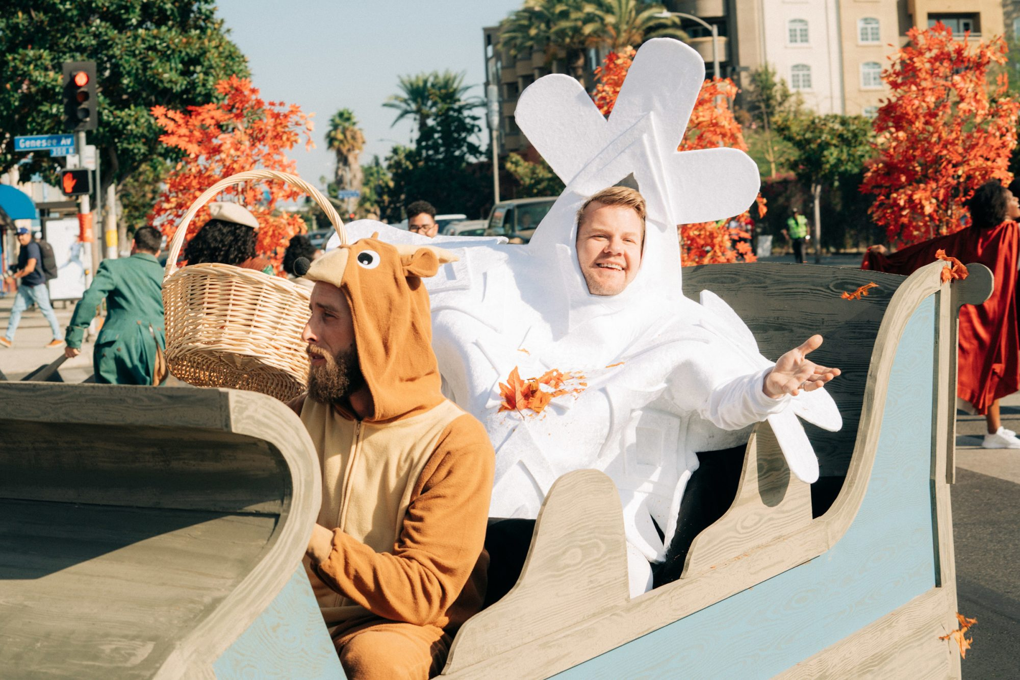 Kristen Bell, Idina Menzel, Josh Gad, and Jonathan Groff join James Corden for Crosswalk the Musical: Frozen 2, during The Late Late Show with James Corden airing Wednesday, November 20, 2019.