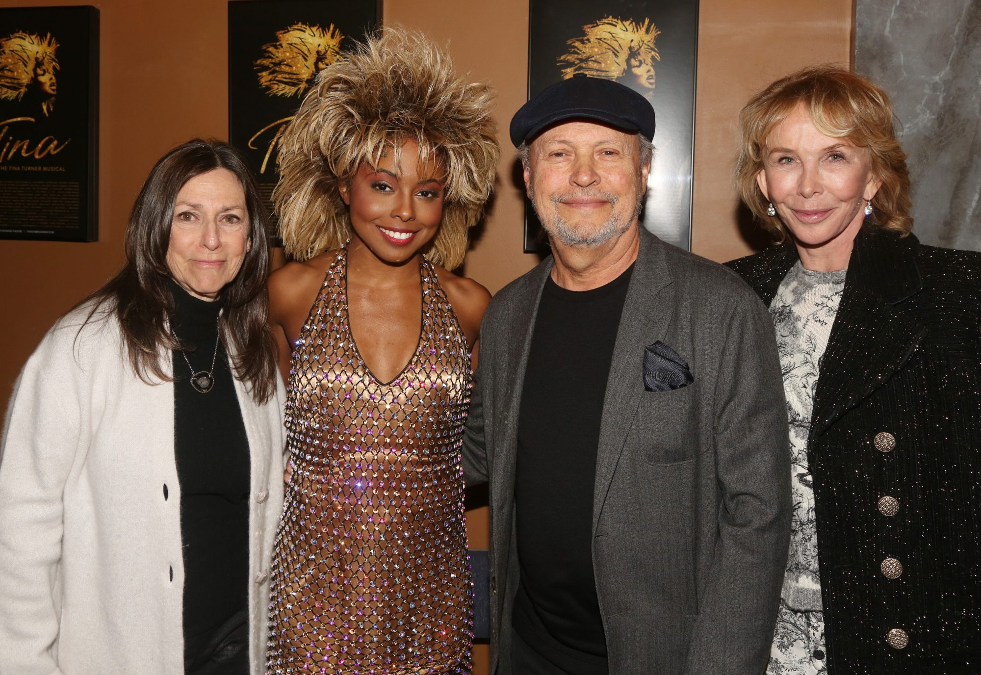"""Janice Crystal, Adrienne Warren as """"Tina Turner"""", Billy Crystal and Trudie"""