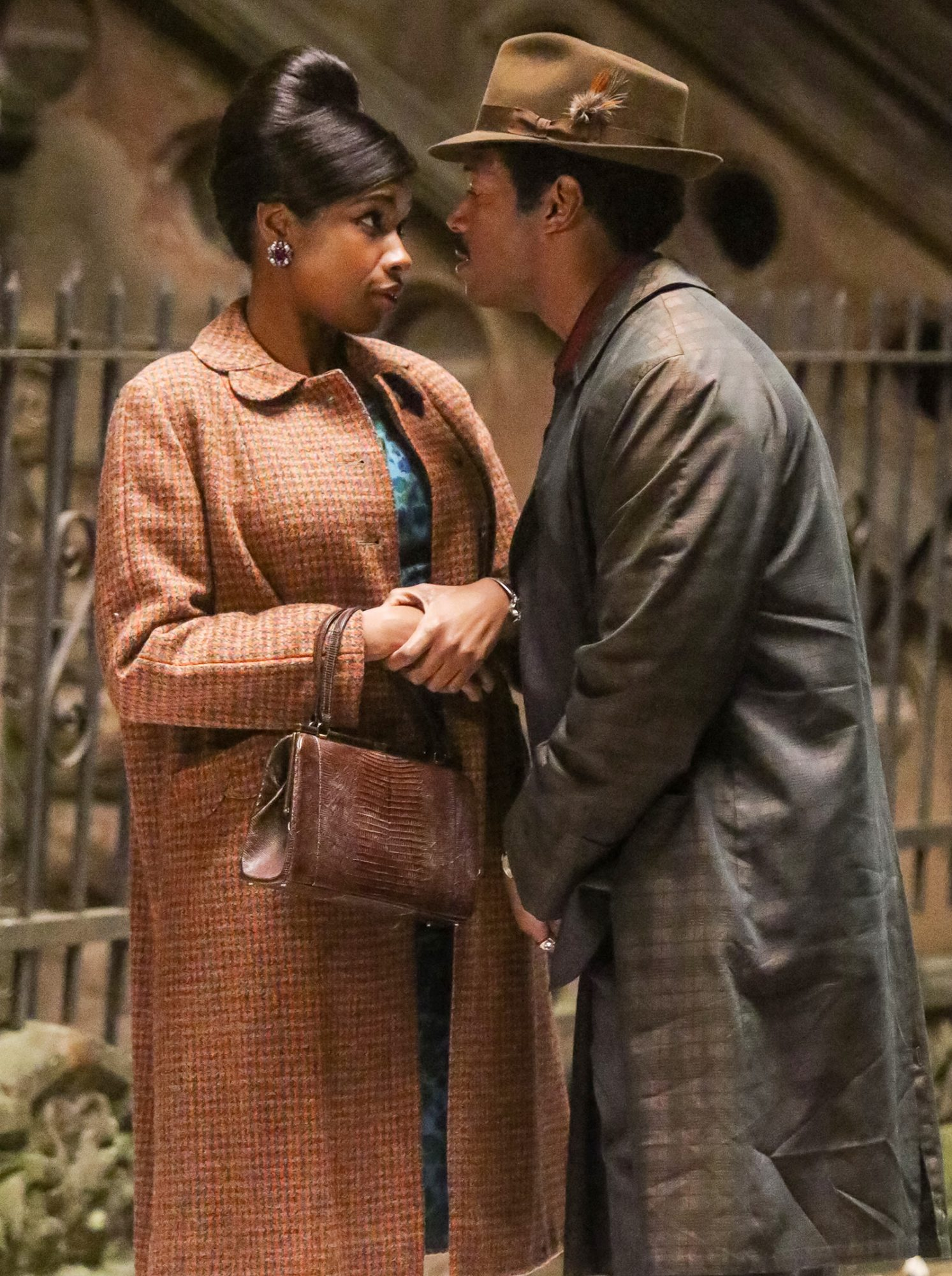 Jennifer Hudson as Aretha Franklin and Marlon Wayans are seen filming Aretha Franklin Biopic on November 05, 2019 in New York City