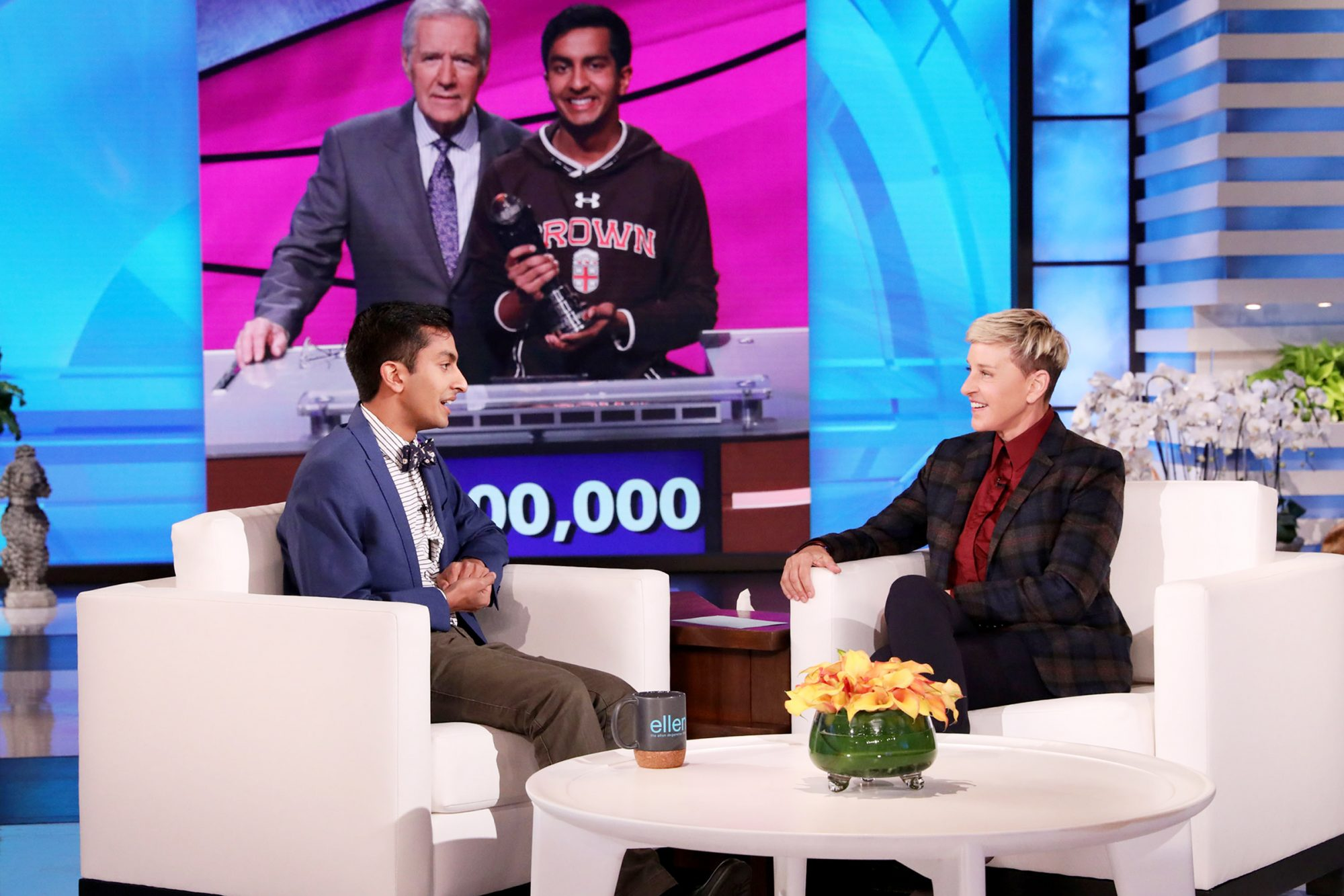 """""""Jeopardy!"""" contestant Dhruv Gaur from Gainesville, GA stops by """"The Ellen DeGeneres Show"""" on Thursday, November 14th for his first appearance after making the beloved quiz show host, Alex Trebek, emotional on Monday night's episode, which went viral."""