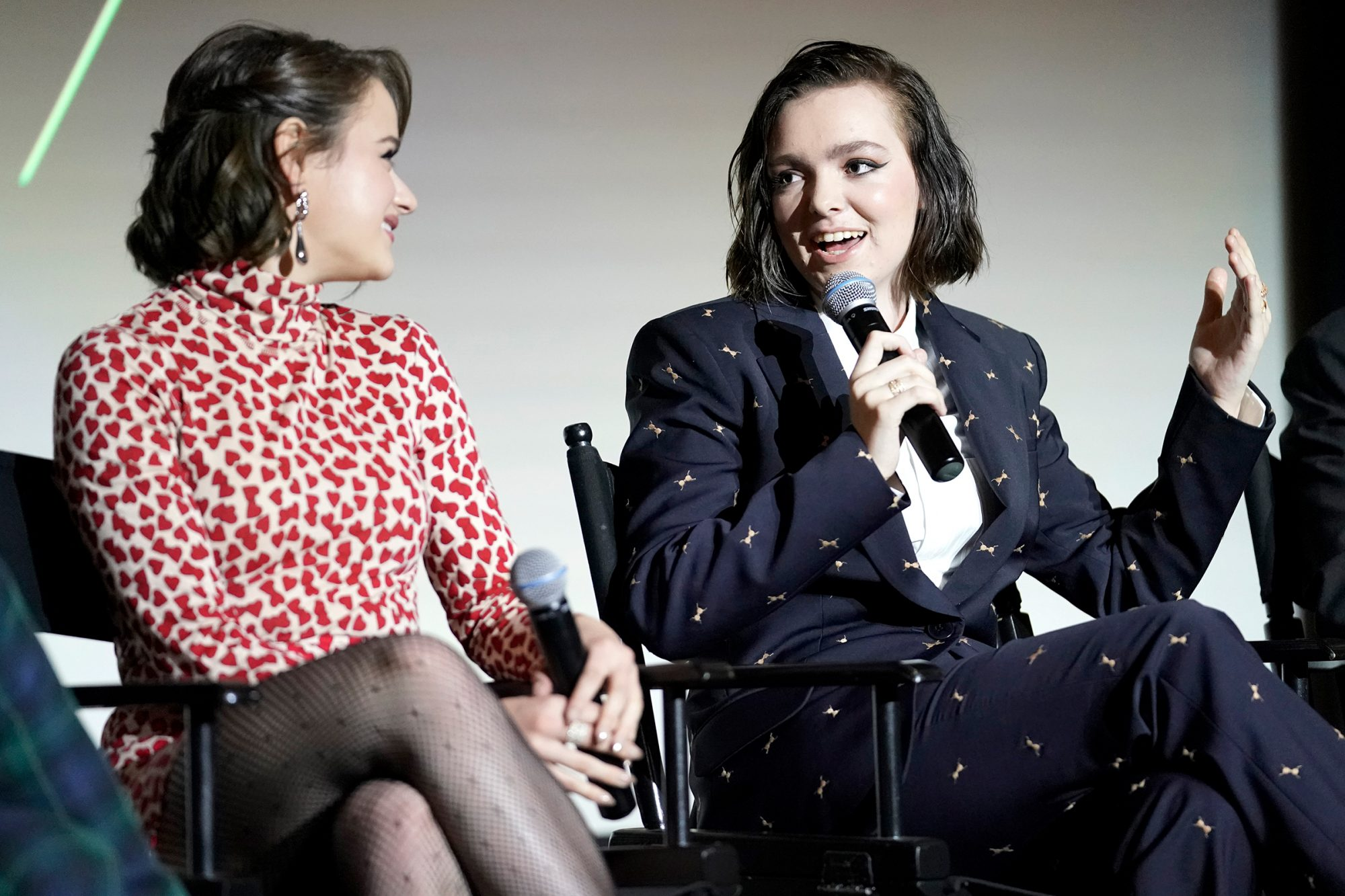 """Joey King and Elsie Fisher speak onstage at the 2019 Hulu """"Scene and Heard"""" SAG Event at Pacific Design Center on November 13, 2019 in West Hollywood"""