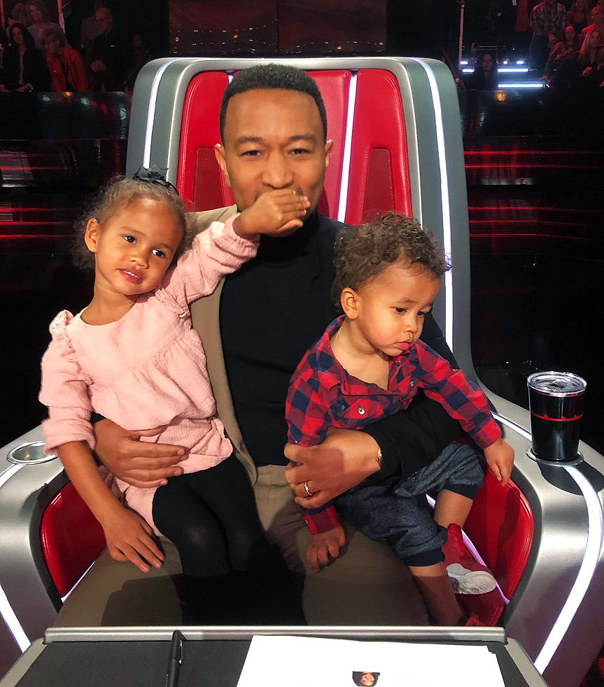 John Legend and Chrissy Teigen's Kids Join Dad at The Voice