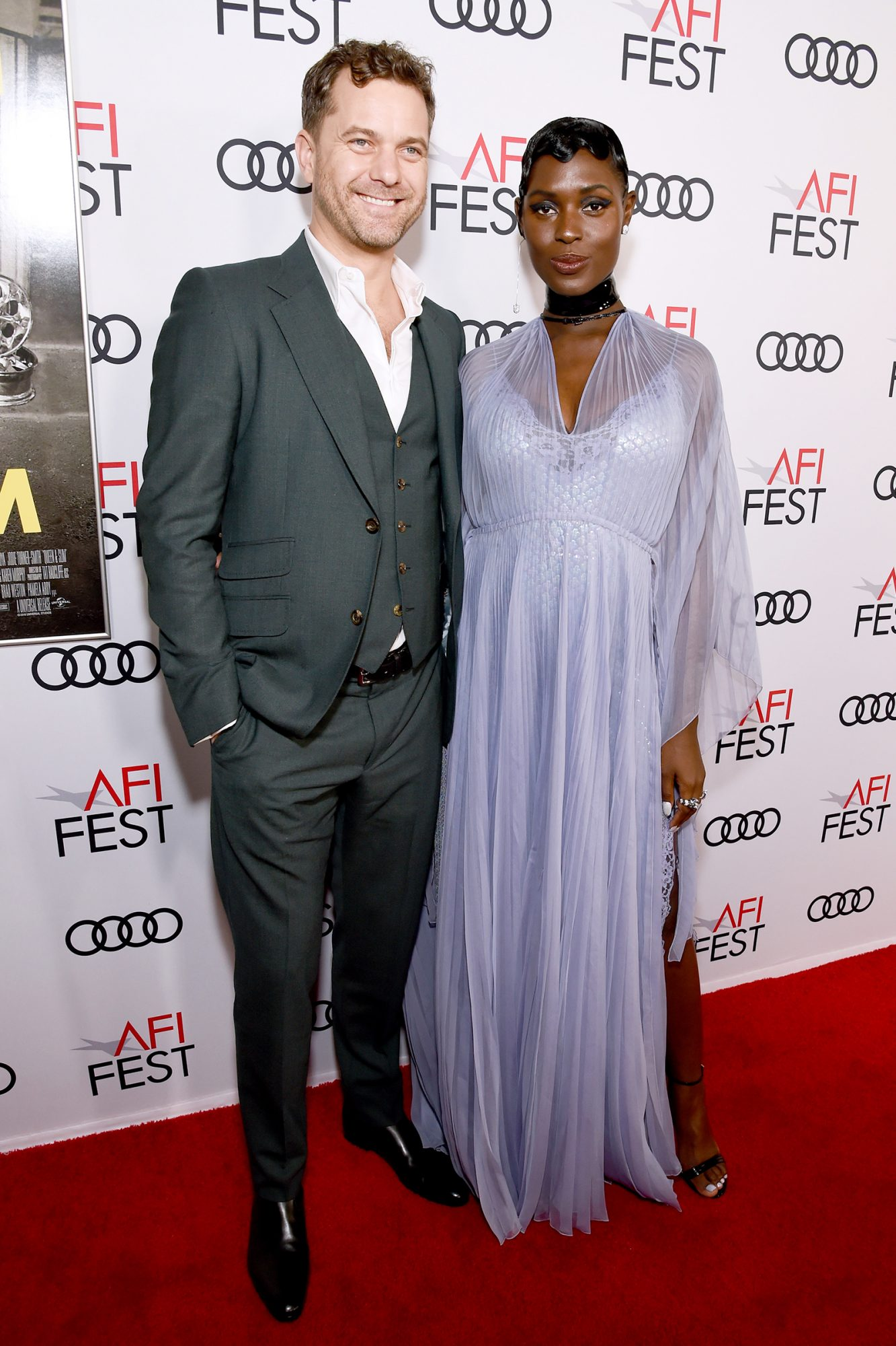 "Joshua Jackson and Jodie Turner-Smith attend the ""Queen & Slim"" Premiere at AFI FEST 2019 presented by Audi at the TCL Chinese Theatre on November 14, 2019 in Hollywood, California"