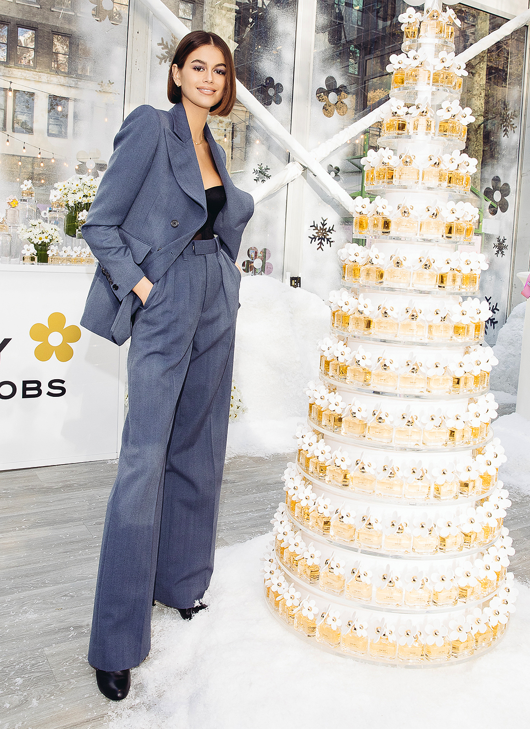 Kaia Gerber launches the Daisy Marc Jacobs Winter Carousel in Bryant Park, NYC