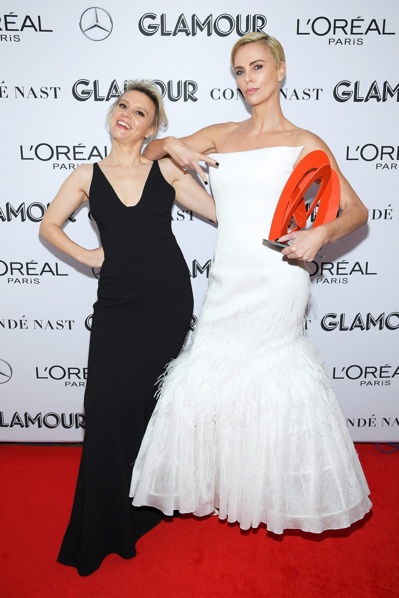 Kate McKinnon and Charlize Theron attends the 2019 Glamour Women Of The Year Awards at Alice Tully Hall on November 11, 2019 in New York City