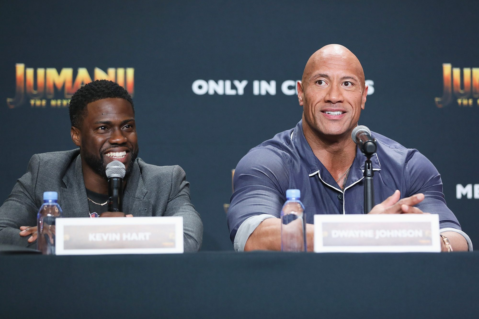 "Kevin Hart and Dwayne ""The Rock"" Johnson attend the ""Jumanji: The Nex Level"" press conference at Montage Los Cabos on November 20, 2019 in Cabo San Lucas, Mexico"